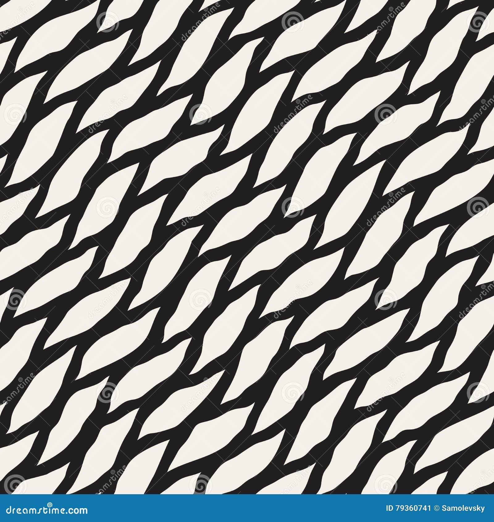 Modello diagonale disegnato a mano in bianco e nero senza cuciture di forme rotonde di vettore