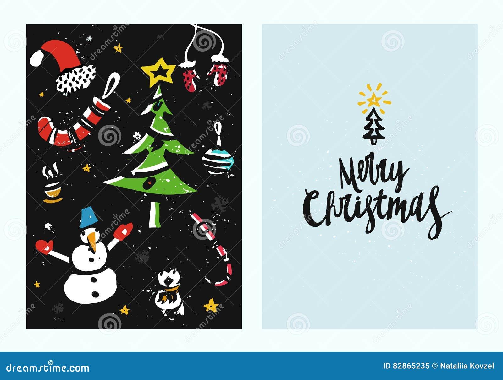 Disegni Di Natale Vettoriali.Modello Disegnato A Mano Unico Della Cartolina Di Natale Con I