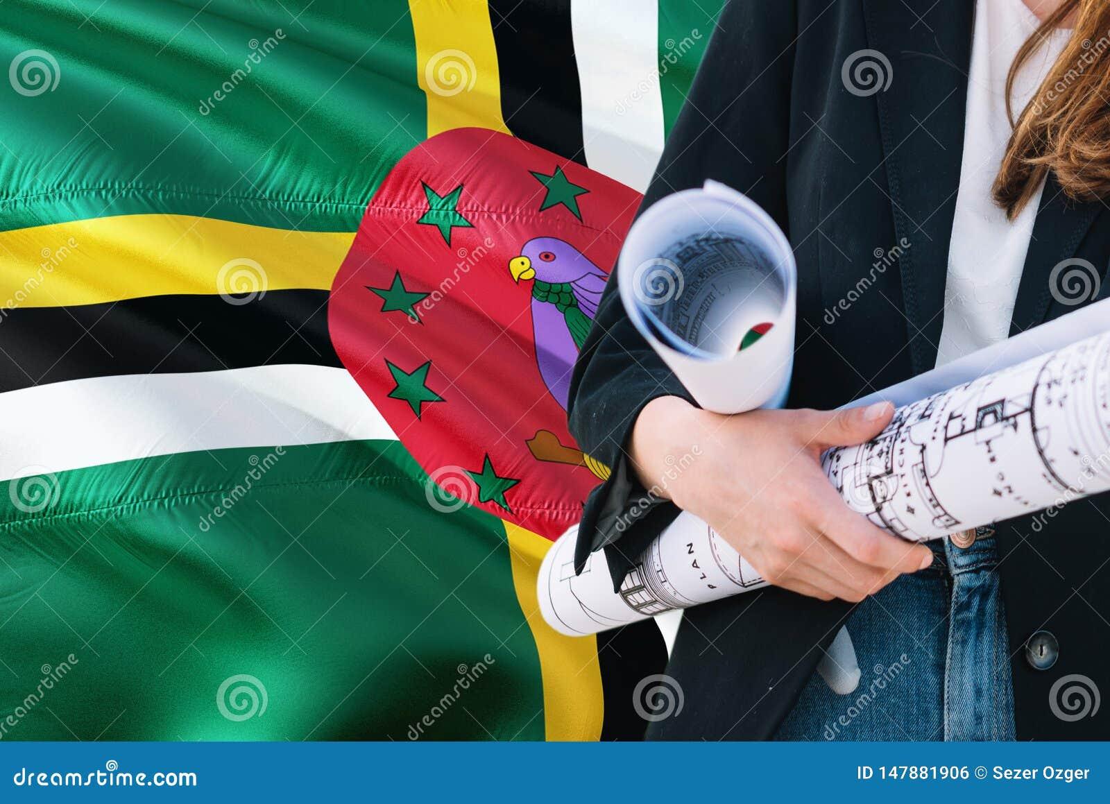Modello domenicano della tenuta della donna dell architetto contro il fondo d ondeggiamento della bandiera della Dominica Concett