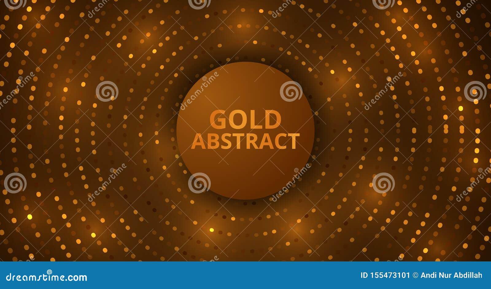 Modello dorato astratto del fondo dell ornamento di effetto di incandescenza del lusso del dettaglio di scintillio del cerchio