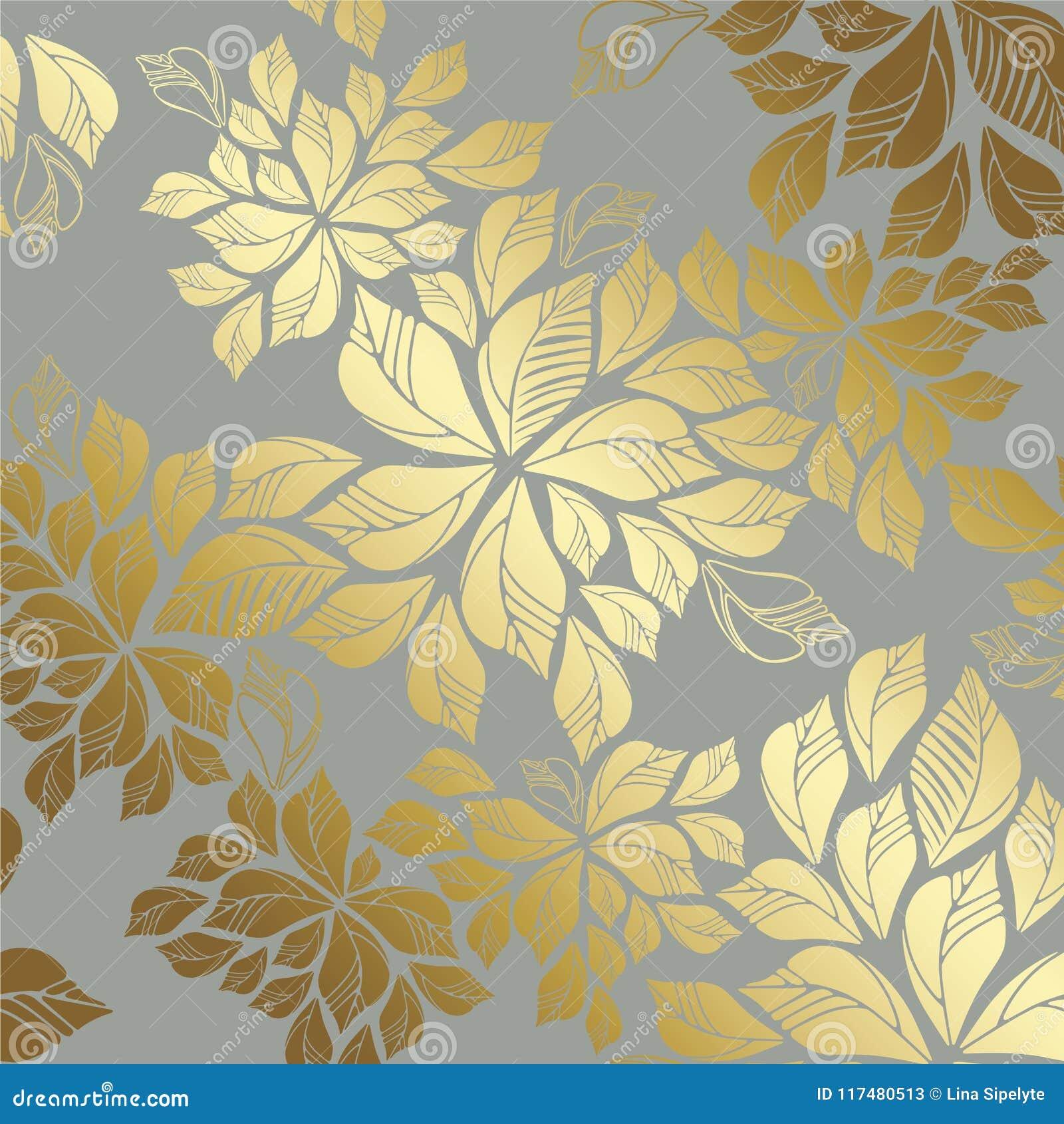 Modello dorato senza cuciture delle foglie su fondo grigio