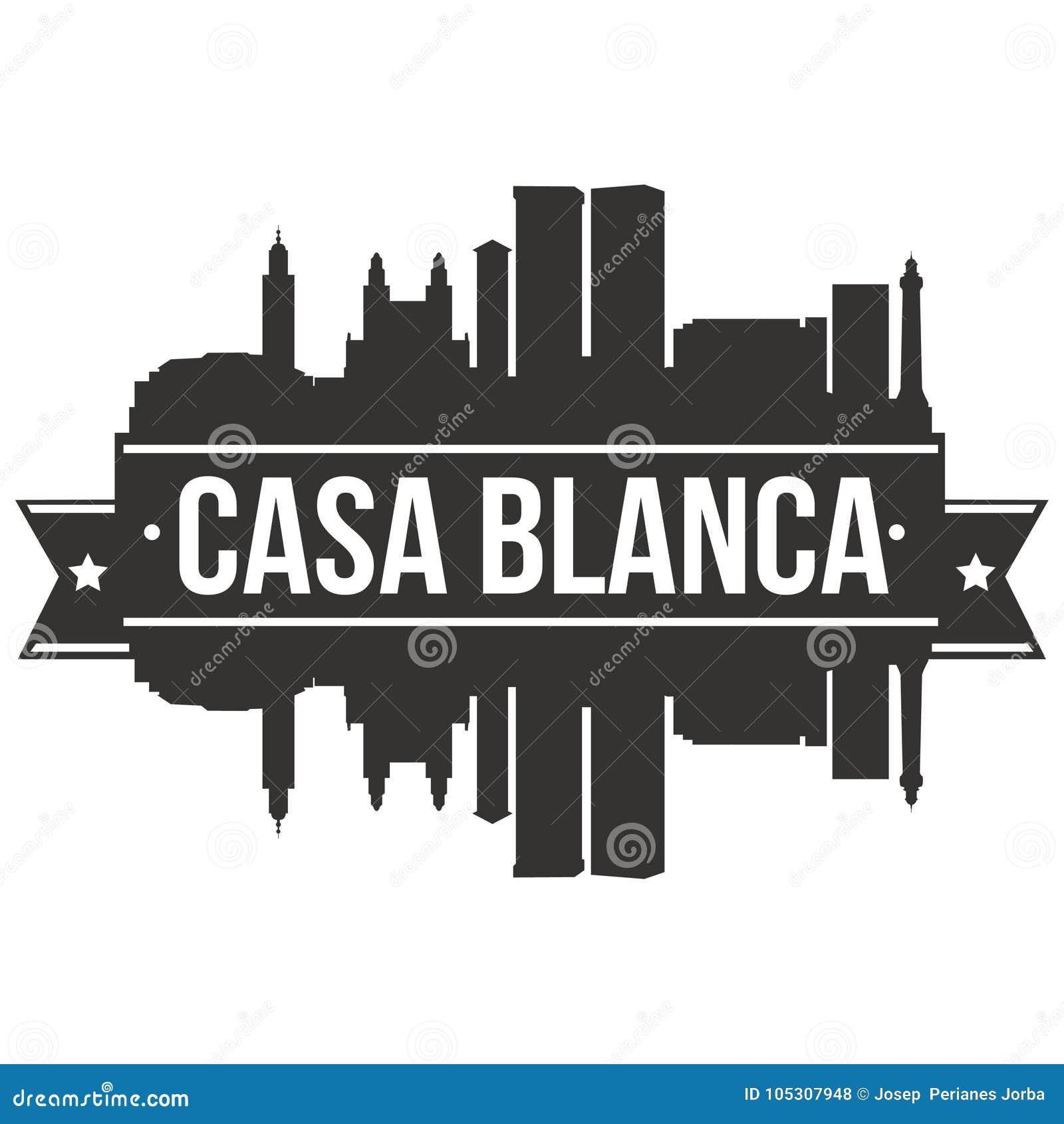 Modello editabile della siluetta di Art Design Skyline Flat City di vettore dell icona del BLANCA Marocco Africa della casa