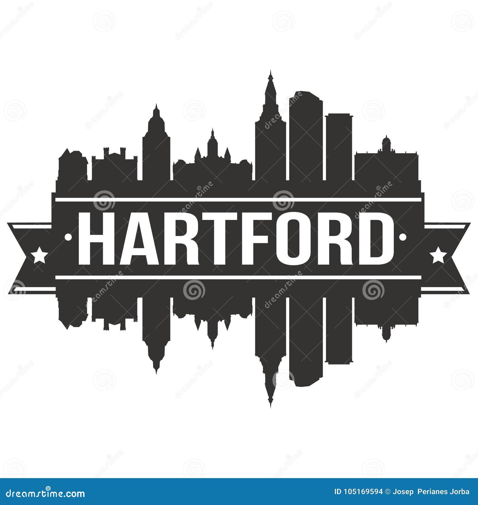 Modello editabile della siluetta di Art Design Skyline Flat City di vettore dell icona di Hartford Connecticut Stati Uniti d Amer