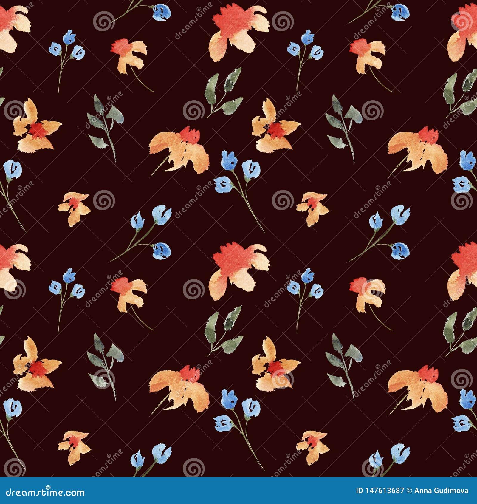 Modello floreale del bello acquerello disegnato a mano senza cuciture con i fiori arancio e porpora