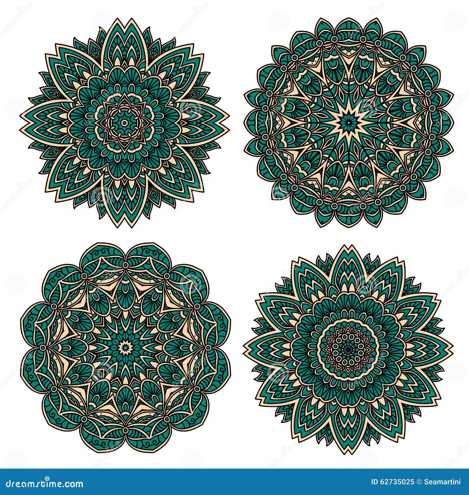 Modello floreale del pizzo con i petali verde smeraldo del - Modello di base del fiore ...
