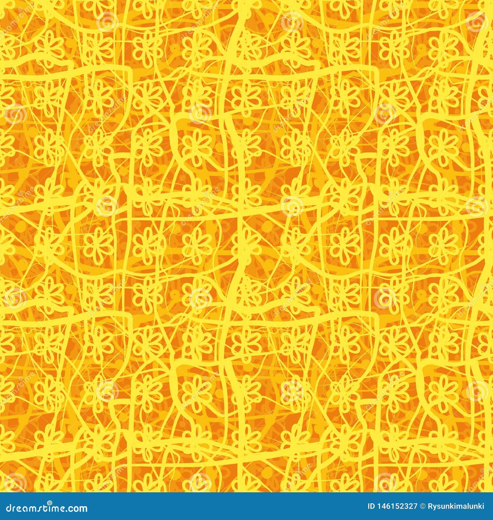 Modello floreale del plaid di vettore senza cuciture in arancio ed in giallo