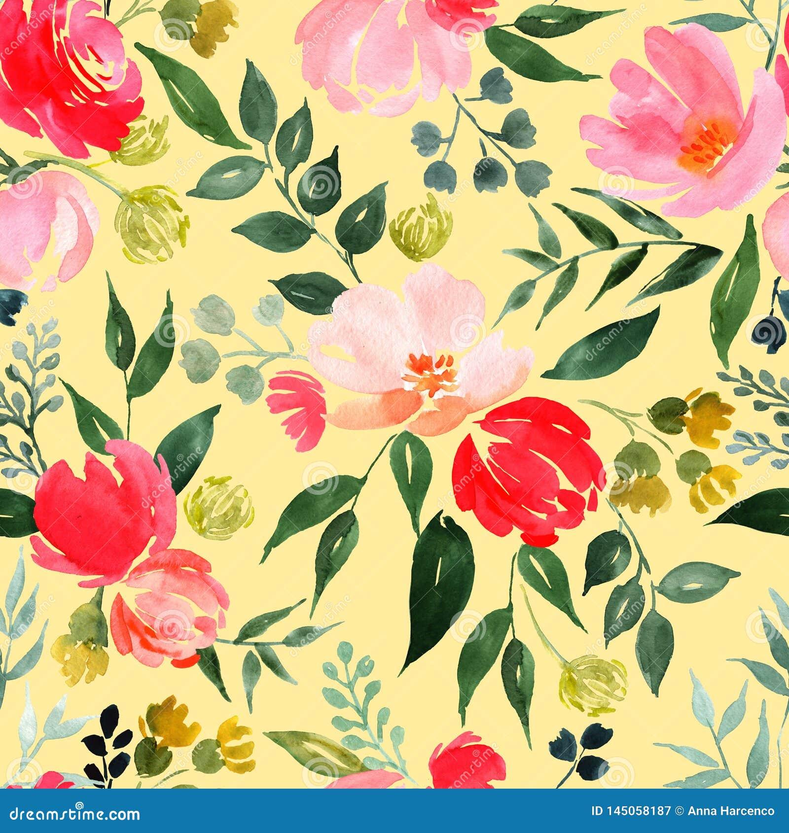 Modello floreale dell acquerello