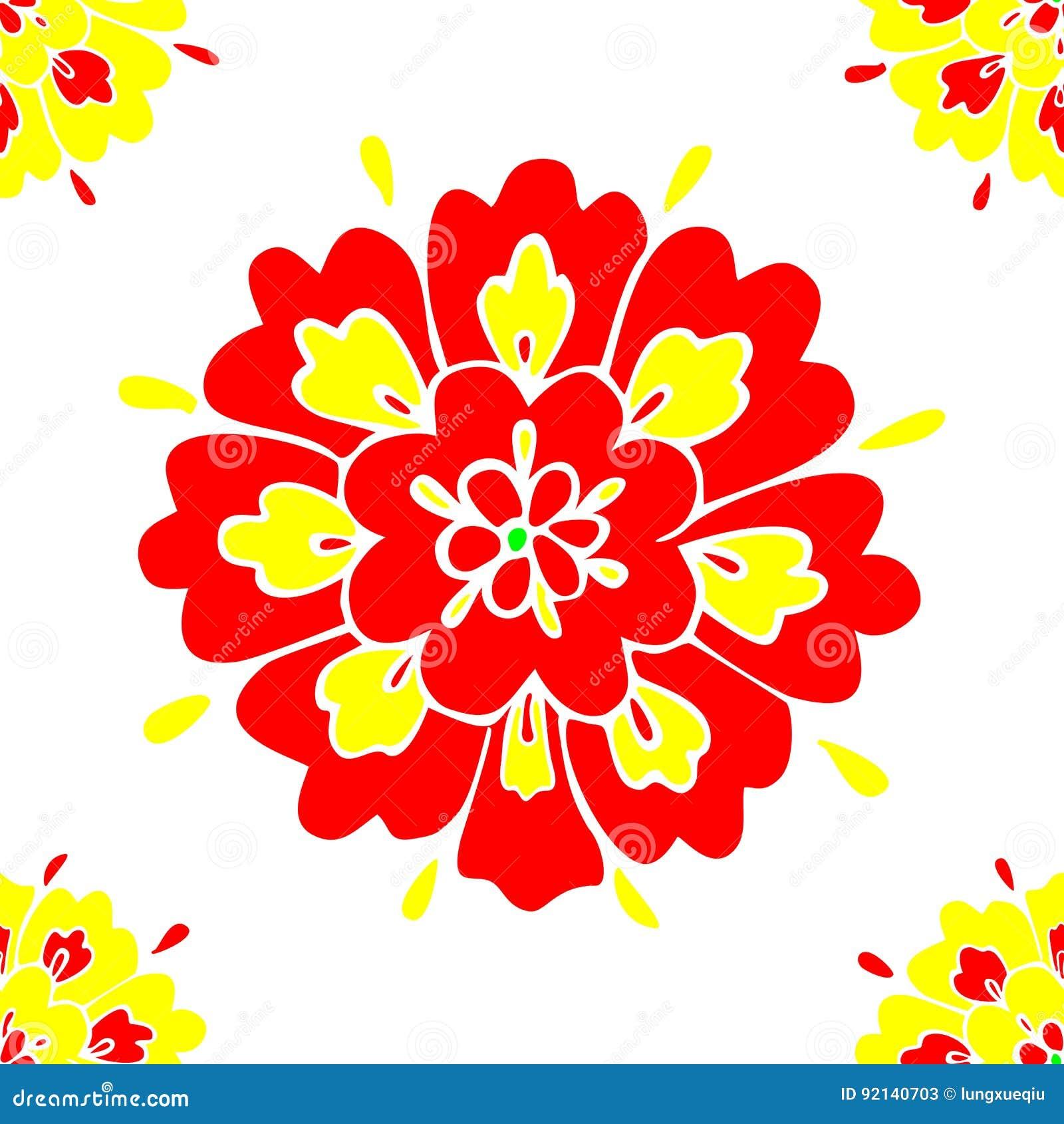 Modello floreale senza cuciture con il vettore rosso e giallo dei petali