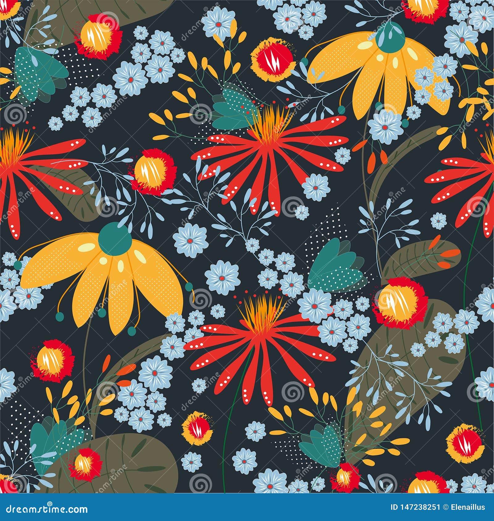 Modello floreale senza cuciture di vettore su fondo colorato scuro Struttura, fondo, carta da parati