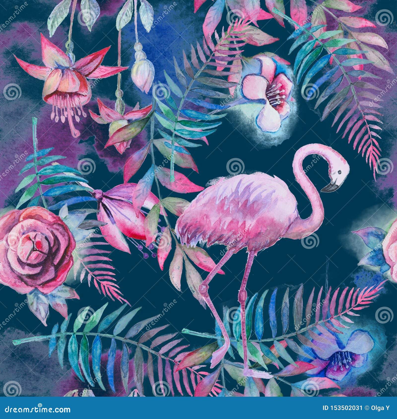 Modello floreale senza cuciture tropicale con le foglie di palma dell acquerello, i fiori ed il fenicottero rosa Porpora, rosa e