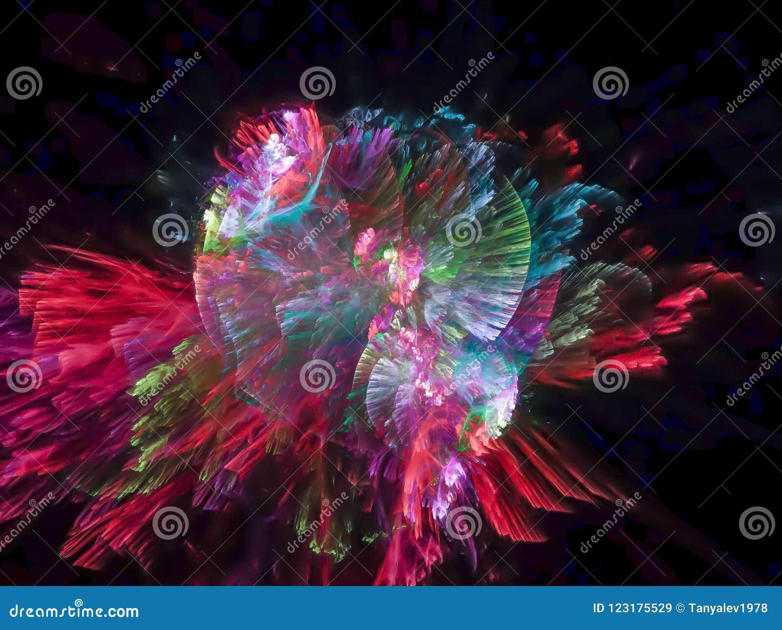 Modello futuristico di frattale di esplosione di fantasia della particella di struttura digitale vibrante astratta di progettazio