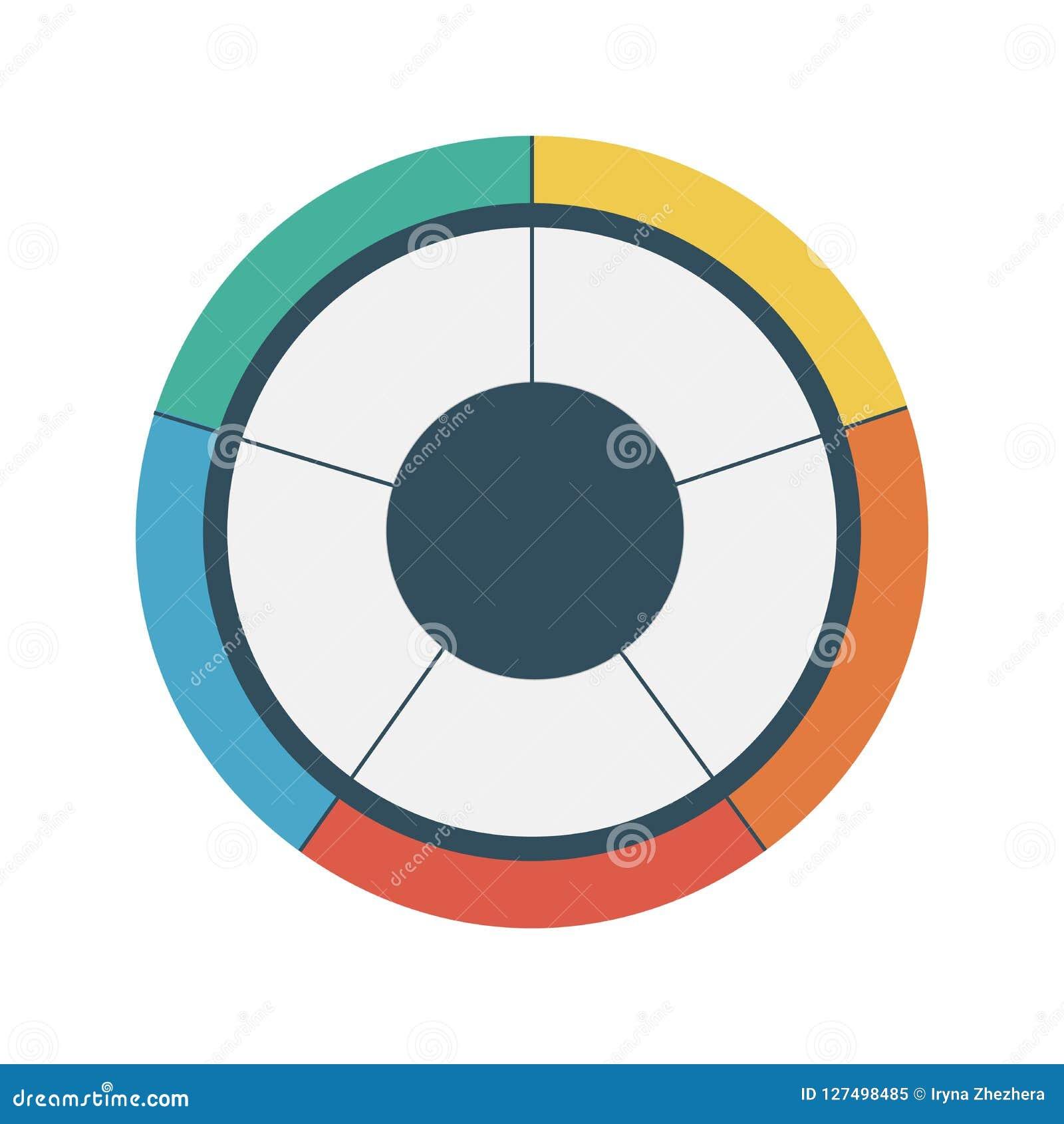 Modello infographic del cerchio del diagramma a torta con 5 opzioni Concetto di affari Illustrazione di vettore
