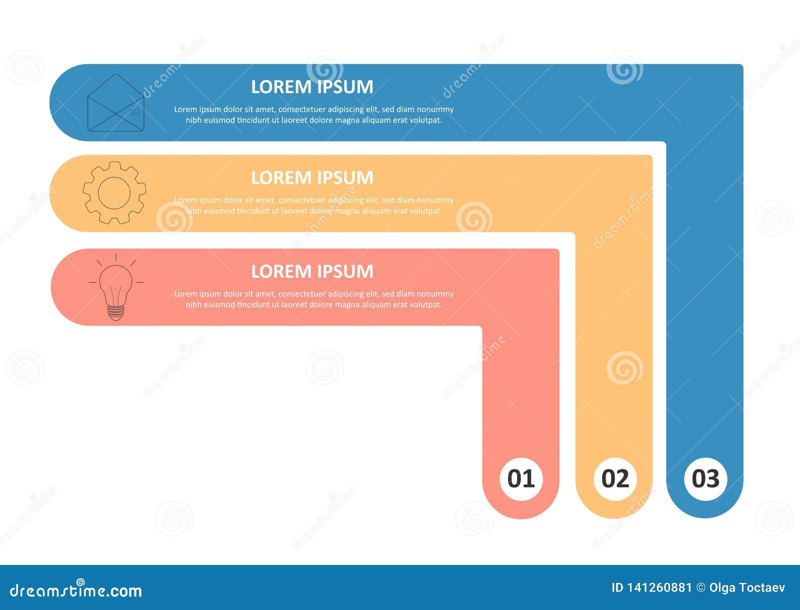 Modello infographic di affari Cronologia con 3 opzioni, punti, cerchio Illustrazione di vettore Può essere usato per il diagramma