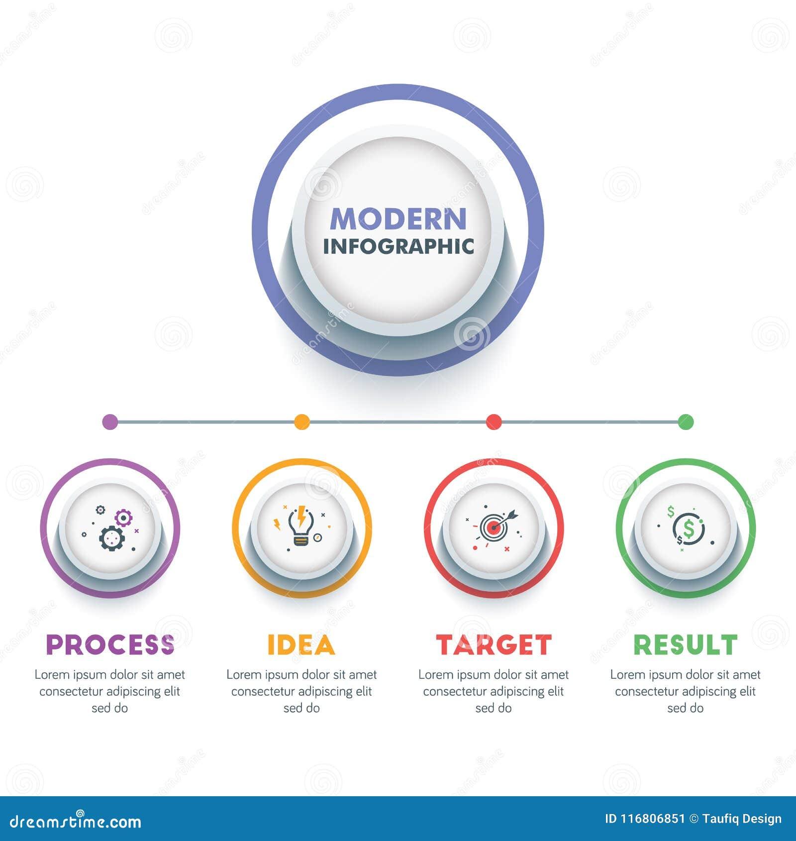 Modello infographic di affari Progettazione moderna di cronologia di Infographics Illustrazione variopinta di vettore