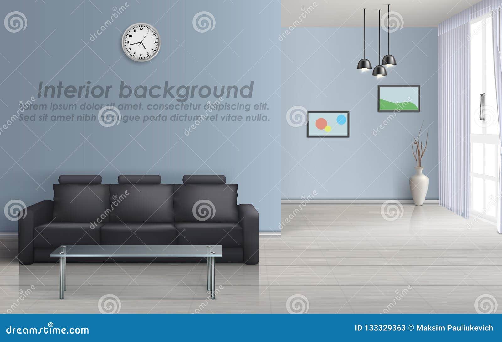 Modello interno di vettore del salone con il sofà