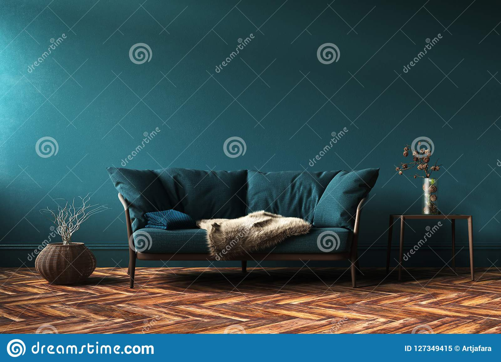 Modello interno domestico con il sofà, la tavola e la decorazione verdi in salone