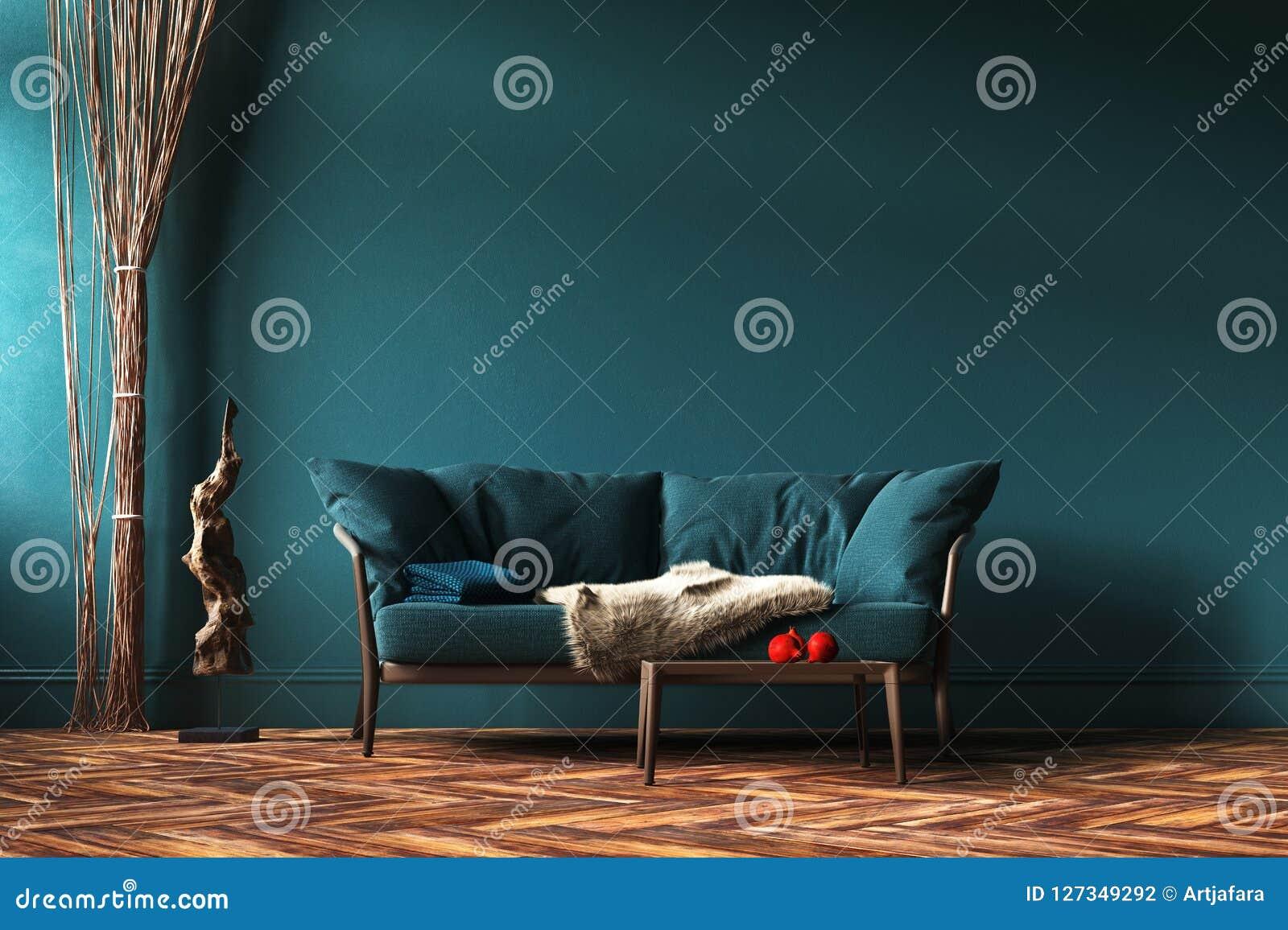 Modello interno domestico con il sofà, le tende della corda e la tavola verdi in salone
