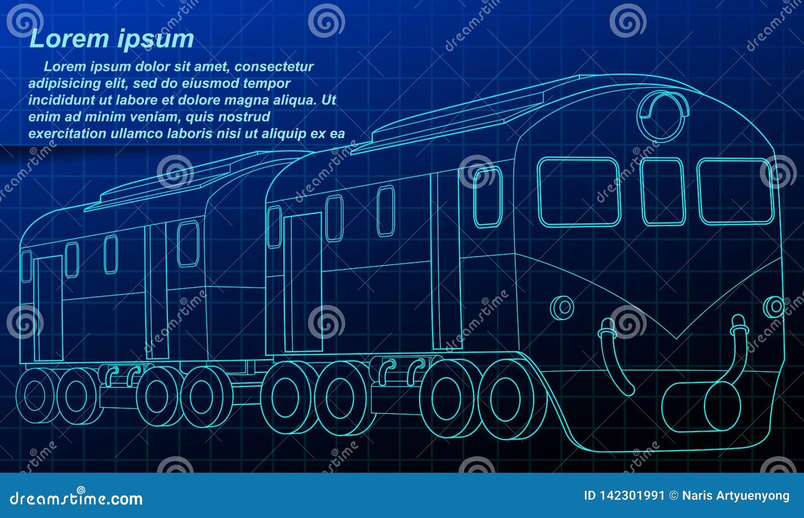 Modello isometrico del treno nello stile di tecnologia