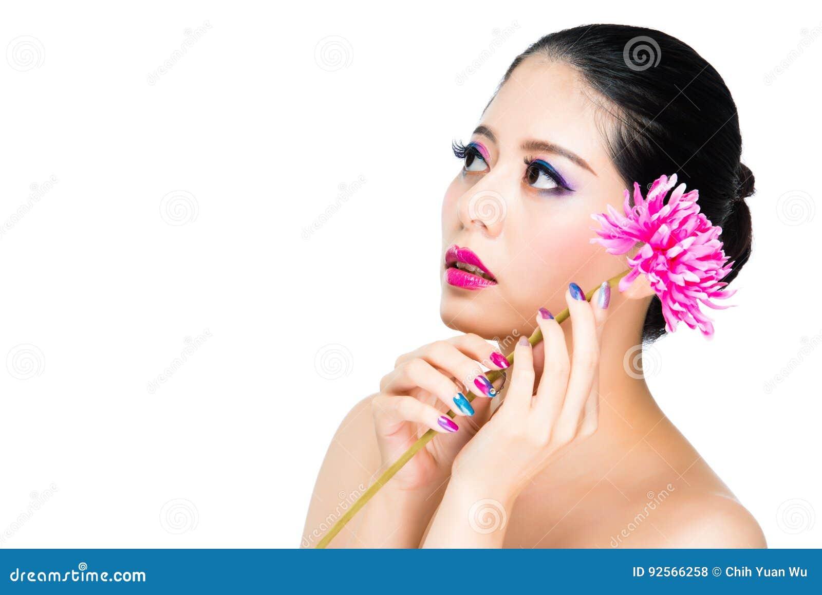 Modello luminoso di stile dell arcobaleno e del fiore