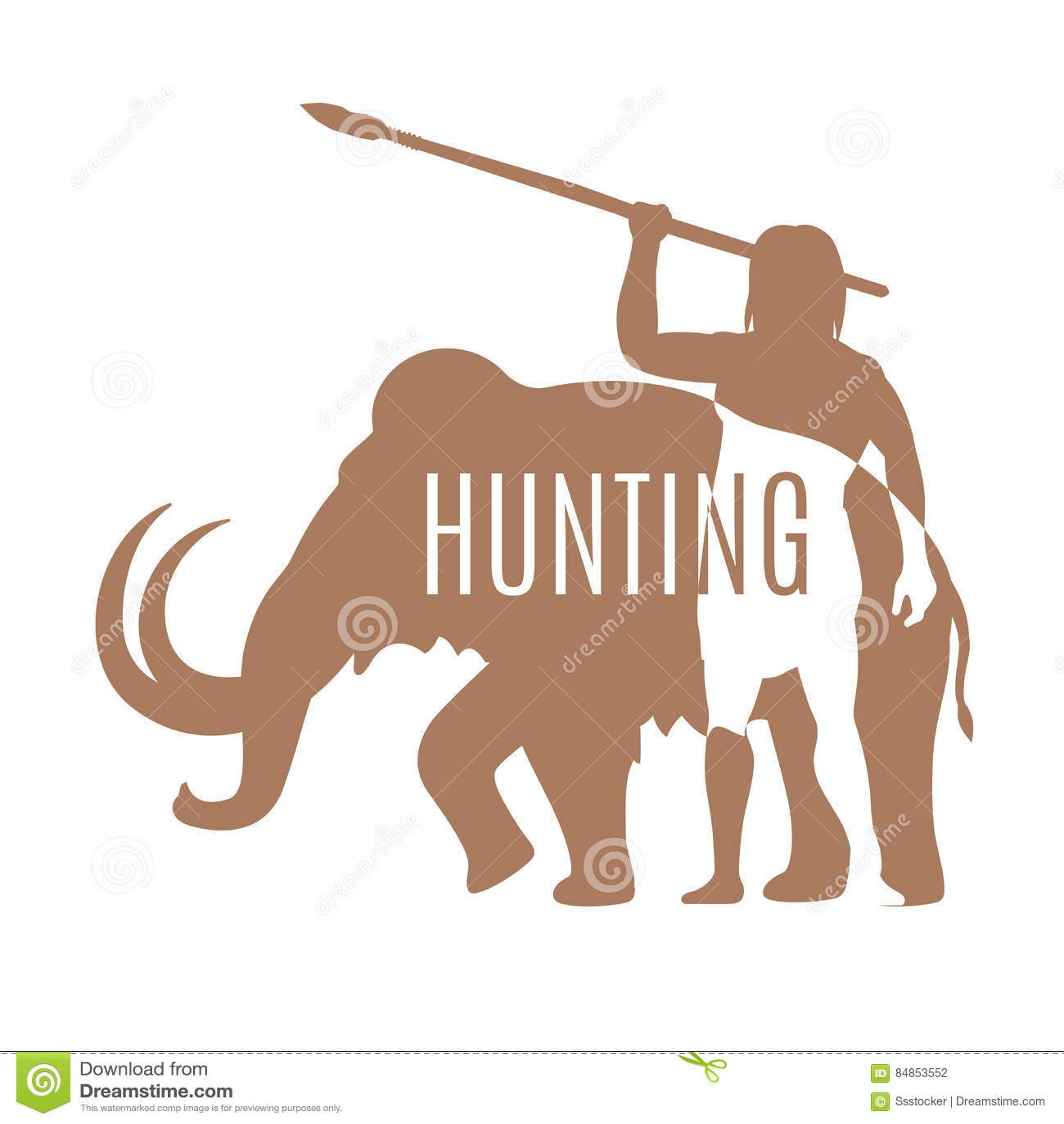 Modello mastodontico di logo di caccia antica dell 39 uomo for Modelli di caverna dell uomo