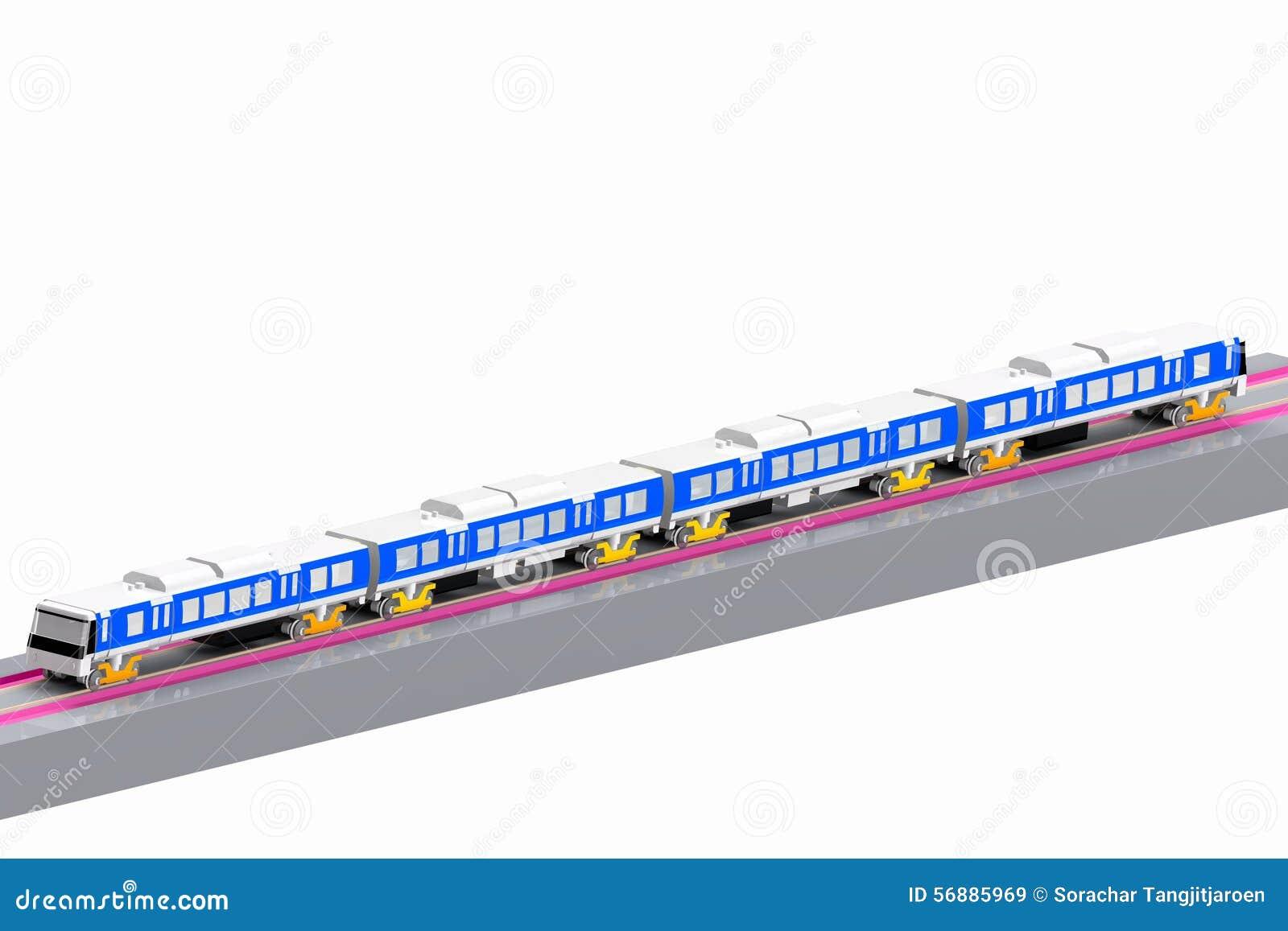 Modello moderno 3D del treno i precedenti bianchi