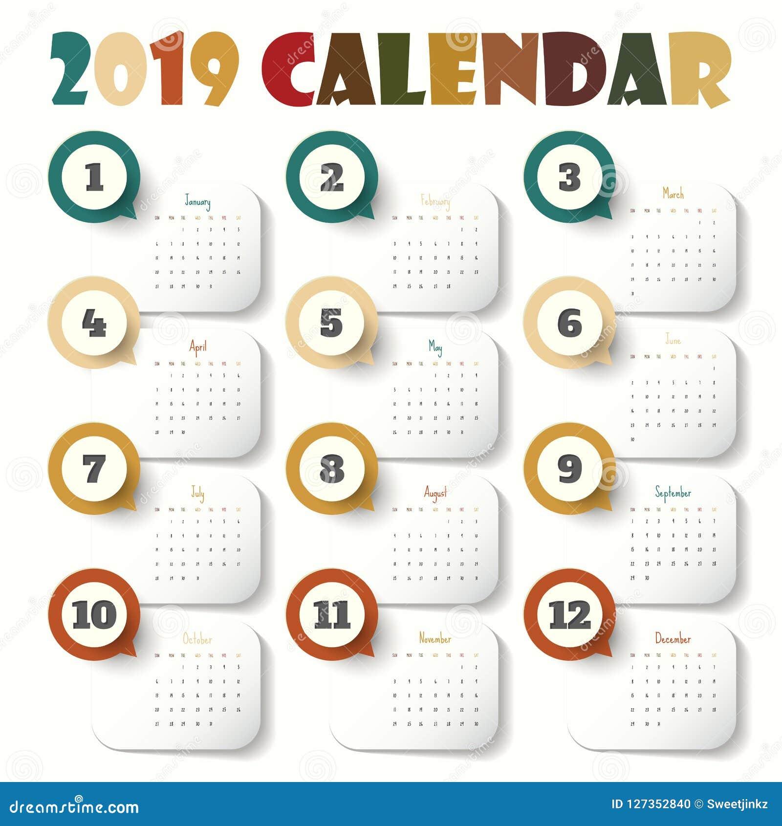 Calendario 2019 Moderno.Modello Moderno Del Calendario 2019 Vettore Illustrazione