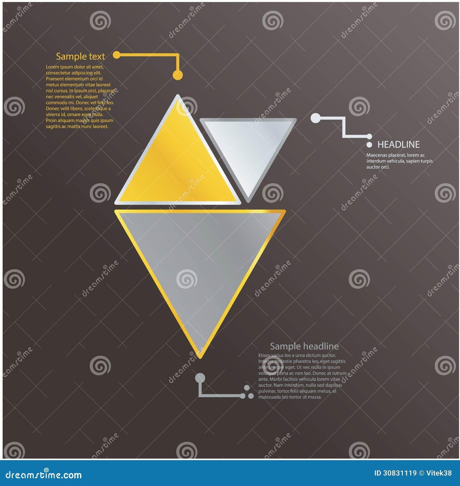 Modello moderno del triangolo con i colori freschi. Icona di logo.