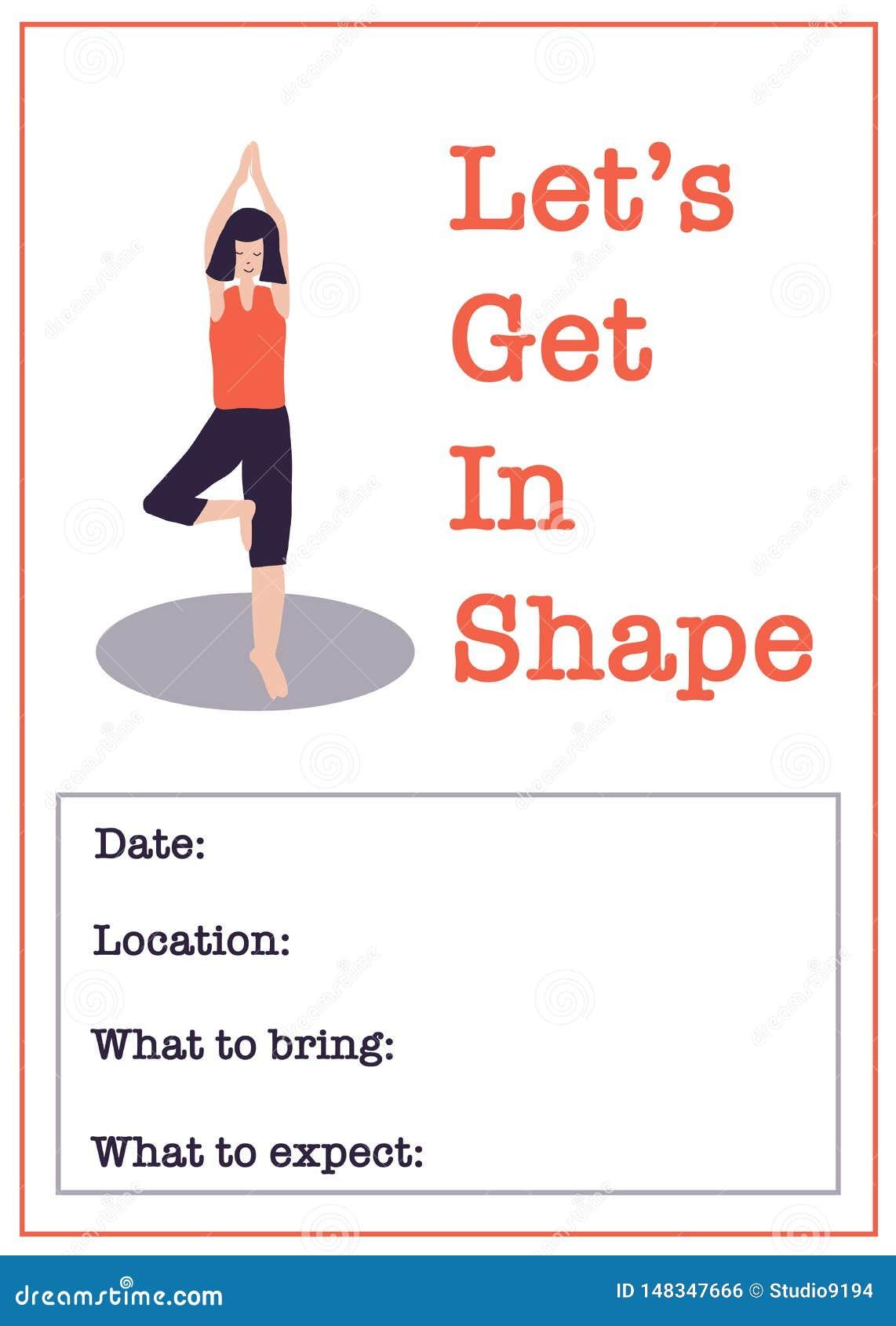 Modello motivazionale del manifesto della classe di yoga Illustrazione di vettore della classe di forma fisica delle donne della