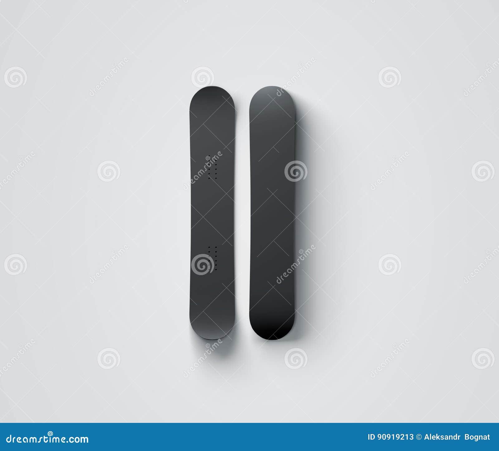 Modello nero in bianco di progettazione dello snowboard isolato, anteriore e posteriore