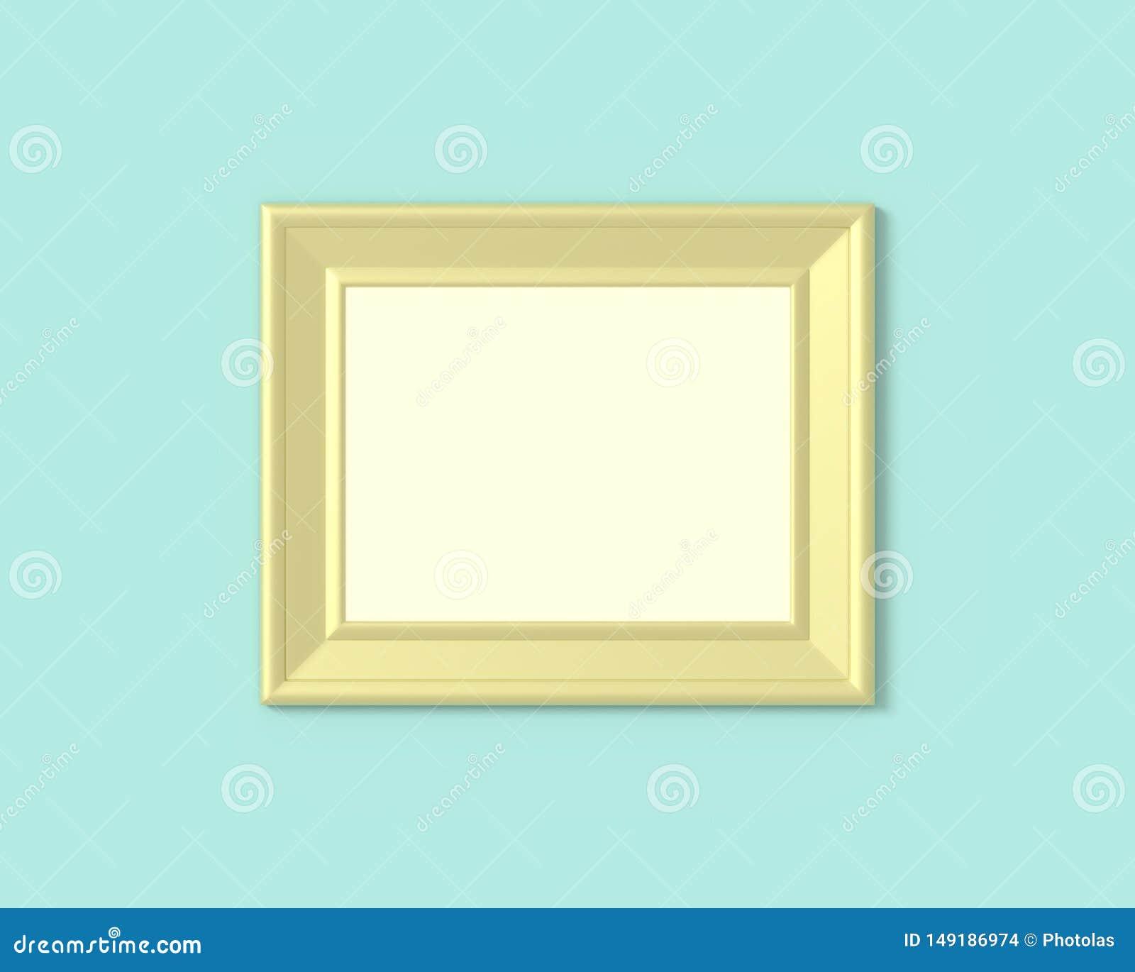 Modello orizzontale della struttura del paesaggio 3x4 Spazio in bianco di legno o di plastica della carta di Realisitc, dell oro