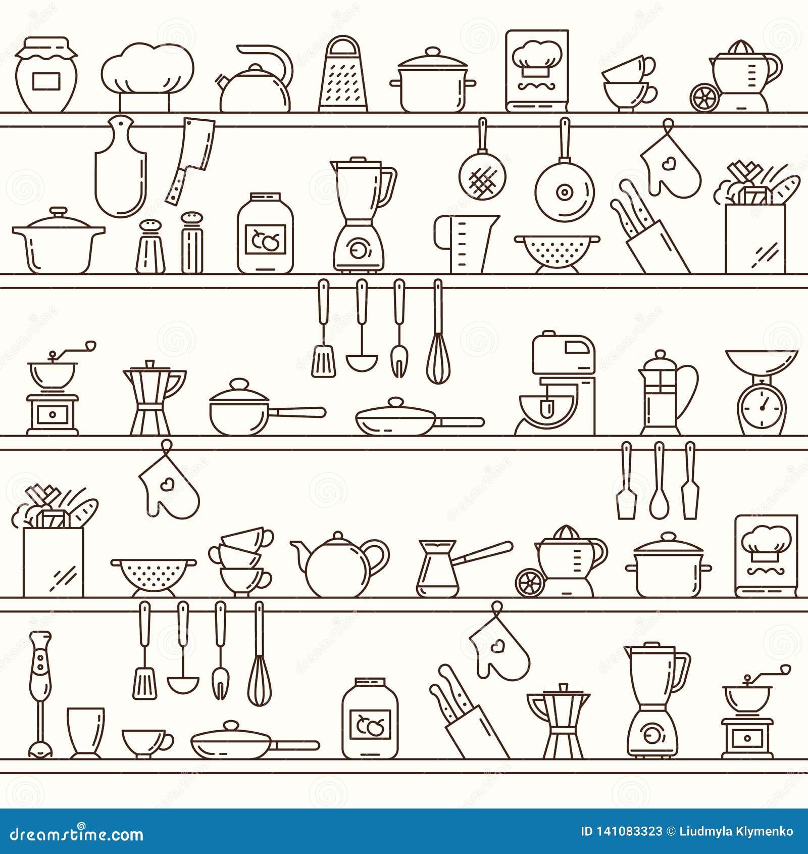 Modello orizzontale senza cuciture con gli scaffali della cucina pieni di vari elementi e strumenti della cucina