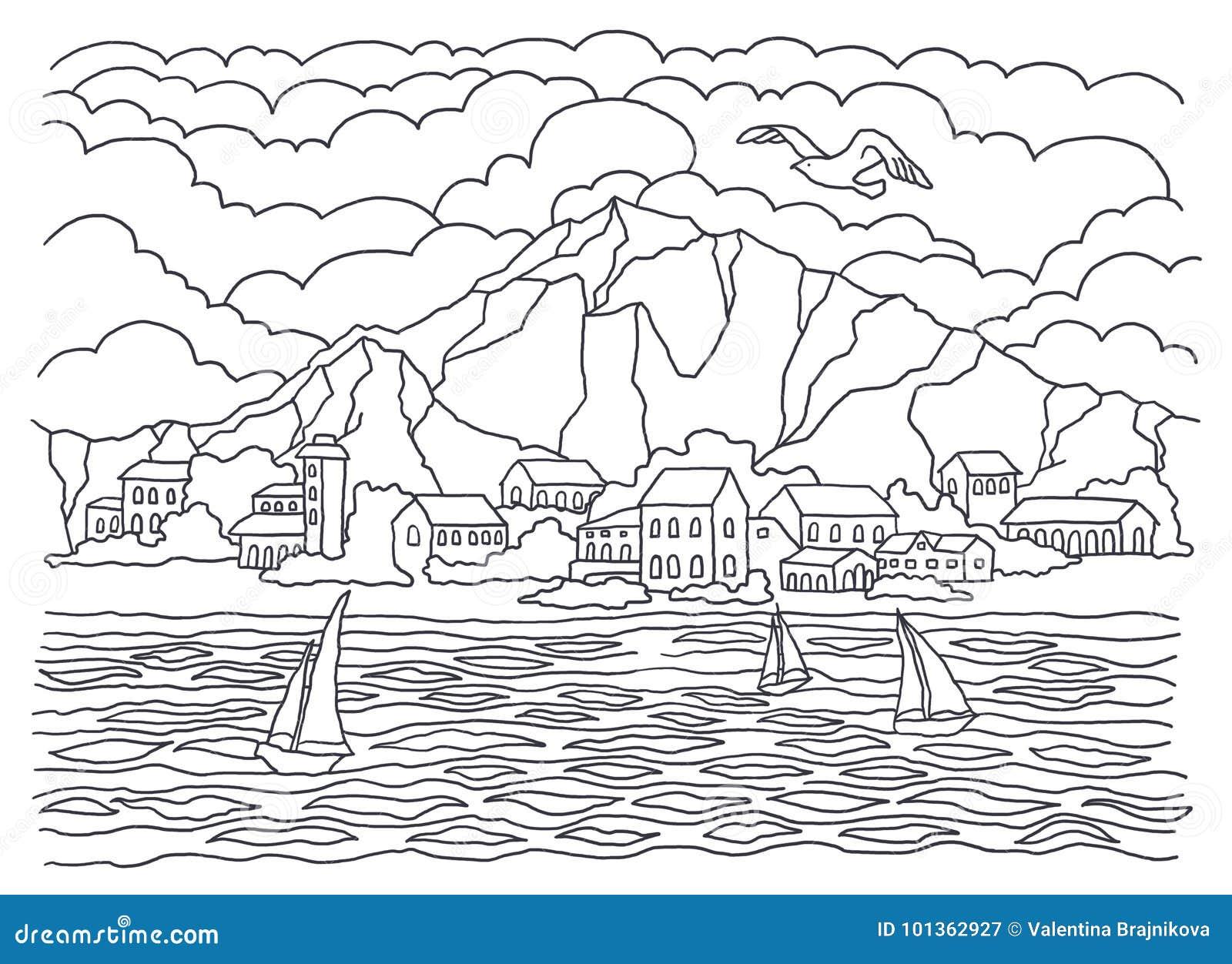 Modello Per Colorare Coloritura Del Mare Pittura Del Paesaggio Mare Onde Tranquillita Barche A Vela Costa Case Alberi E Ces Illustrazione Di Stock Illustrazione Di Glade Adulti 101362927