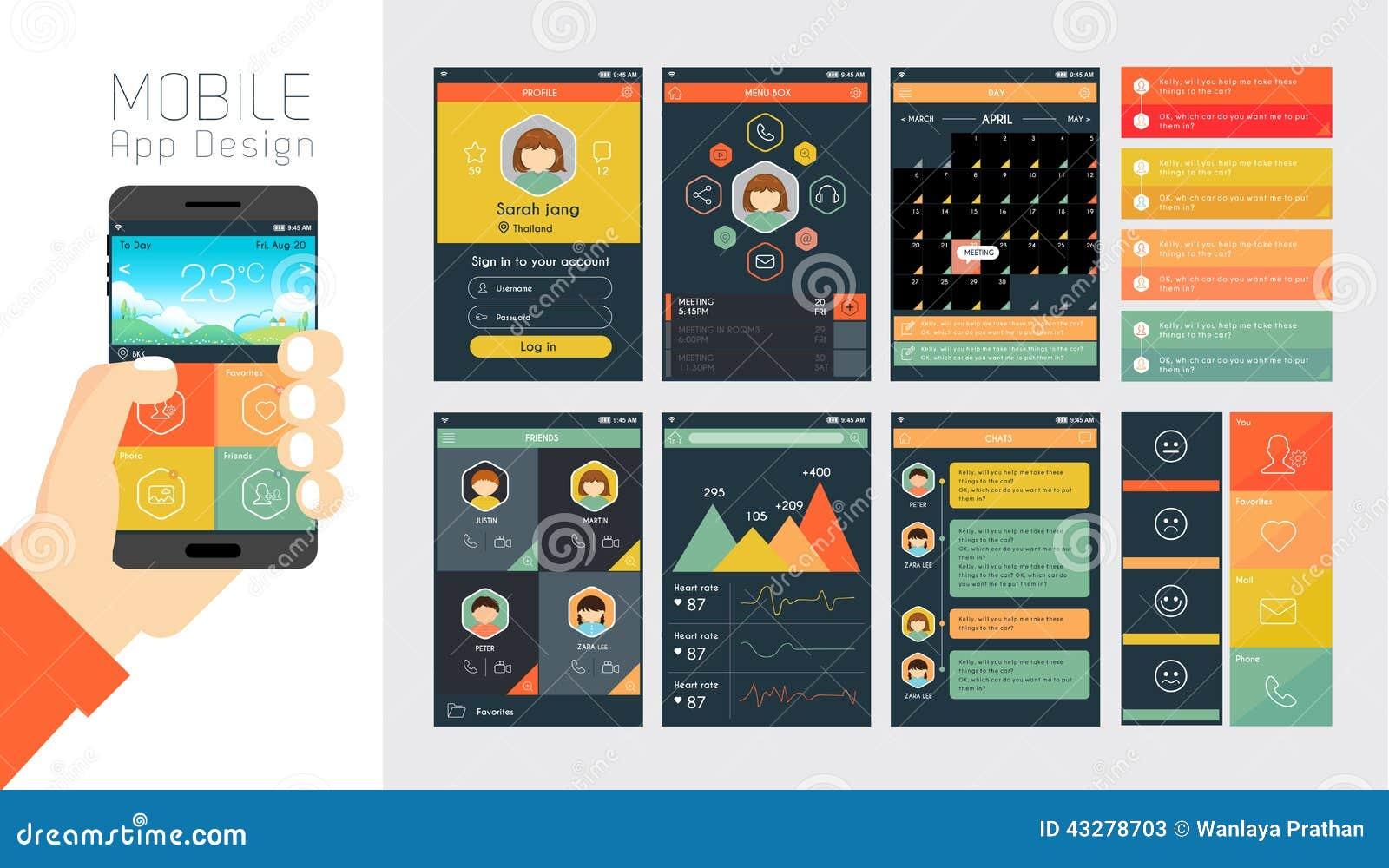 modello per il cellulare app e la progettazione del sito web illustrazione vettoriale. Black Bedroom Furniture Sets. Home Design Ideas