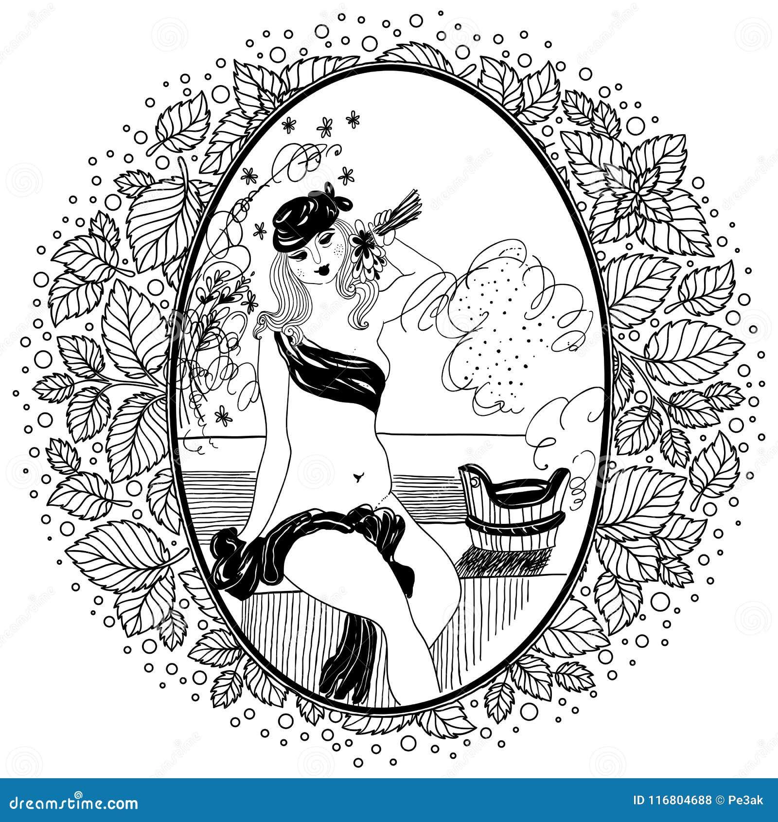 Modello per il libro da colorare per l adulto Ragazza d annata in bagno