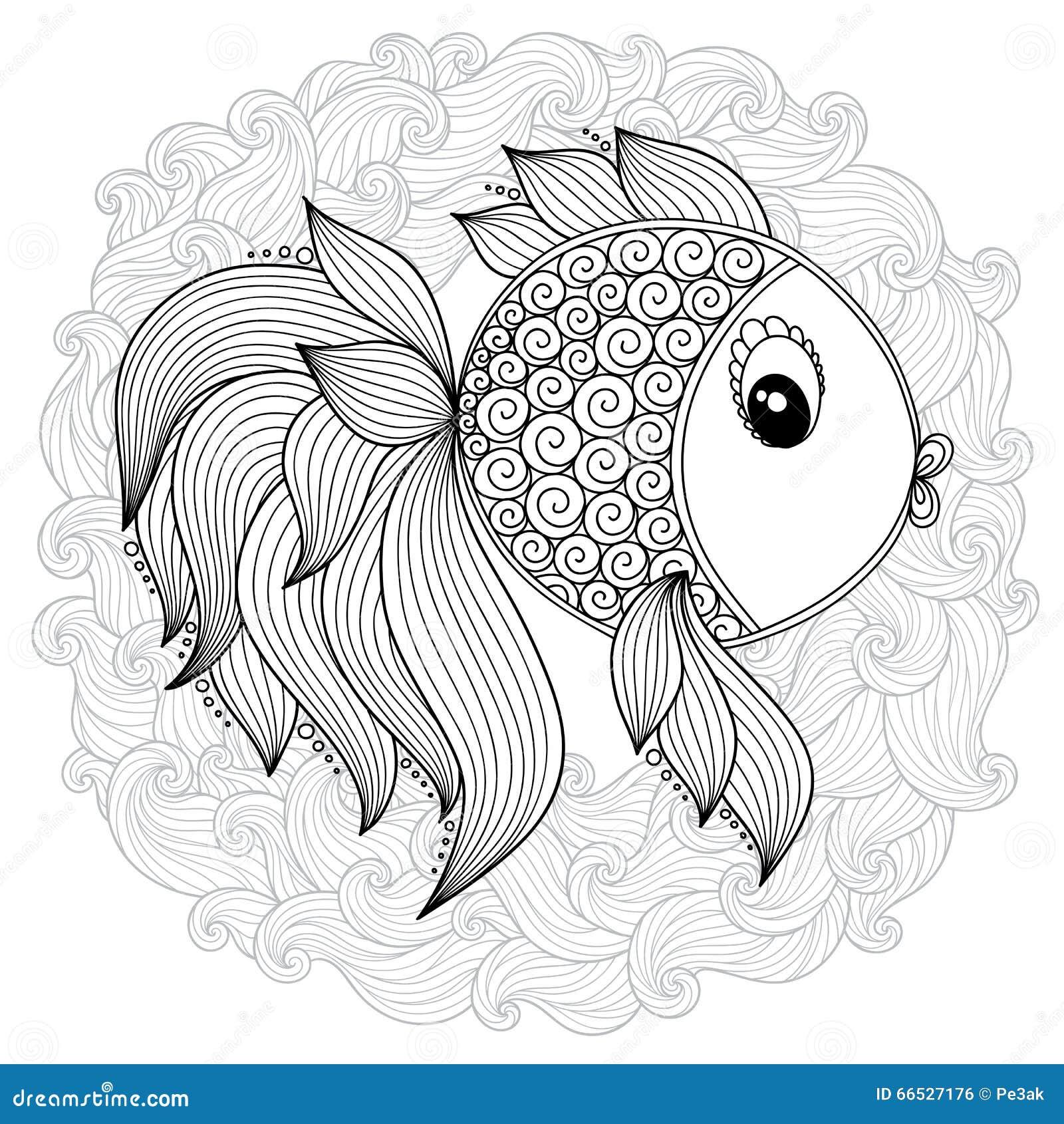 Modello Per Il Libro Da Colorare Pesce Sveglio Del Fumetto ...