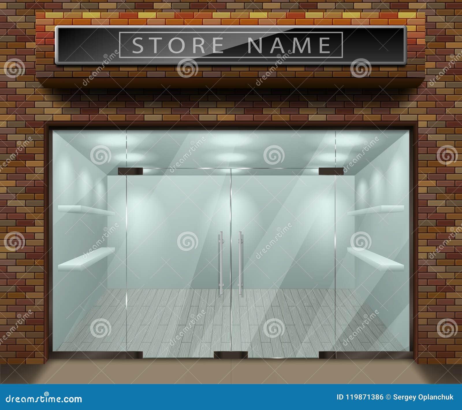 Modello per la pubblicità della facciata della parte anteriore del deposito 3d con il mattone rosso Esteriore svuoti il negozio o