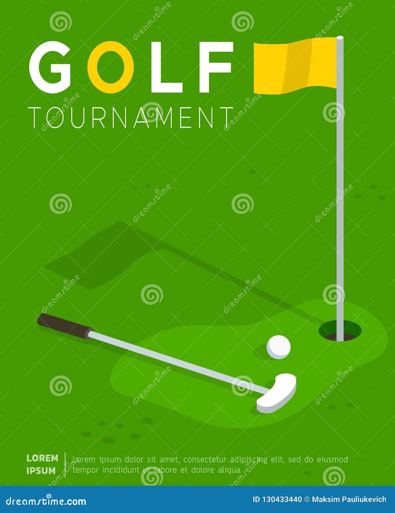 Modello piano di vettore del manifesto di promo di torneo di golf