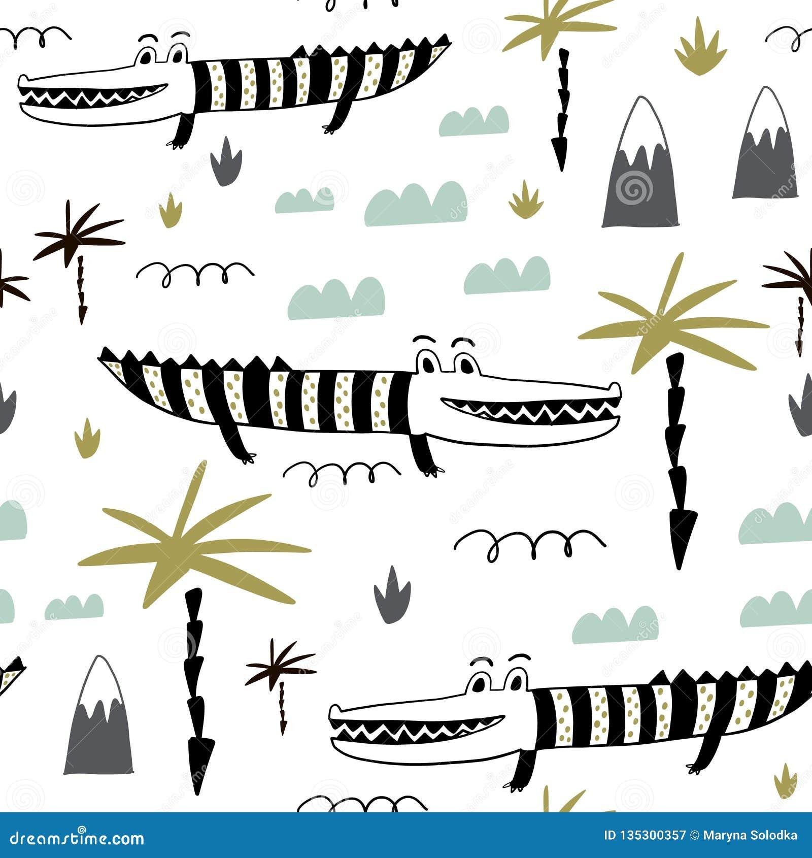 Modello puerile senza cuciture con gli alligatori svegli disegnati a mano Struttura creativa per tessuto, avvolgentesi, tessuto,