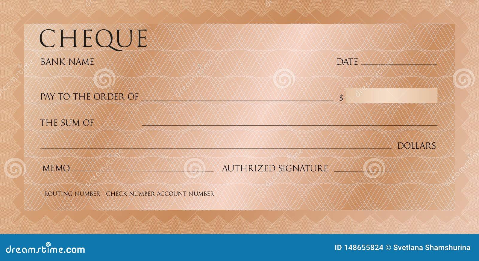 Modello rosa di lusso dell assegno dell oro con rabescatura d annata Controllo bronzeo, modello del modello del libretto di asseg