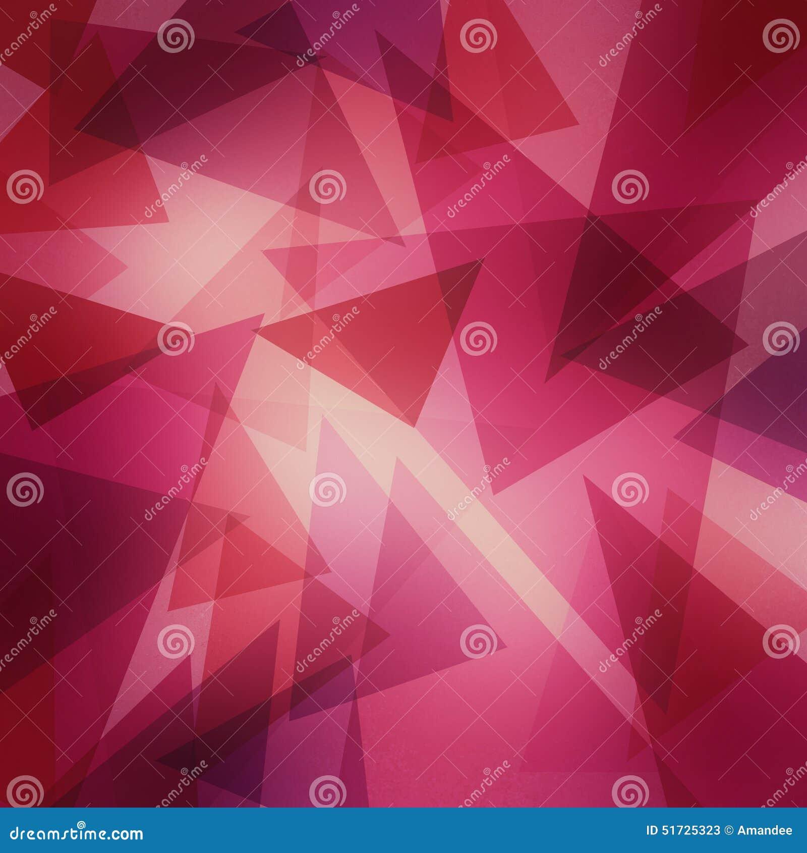 Modello rosa e porpora del triangolo stratificato estratto con il centro luminoso, progettazione del fondo di arte contemporanea