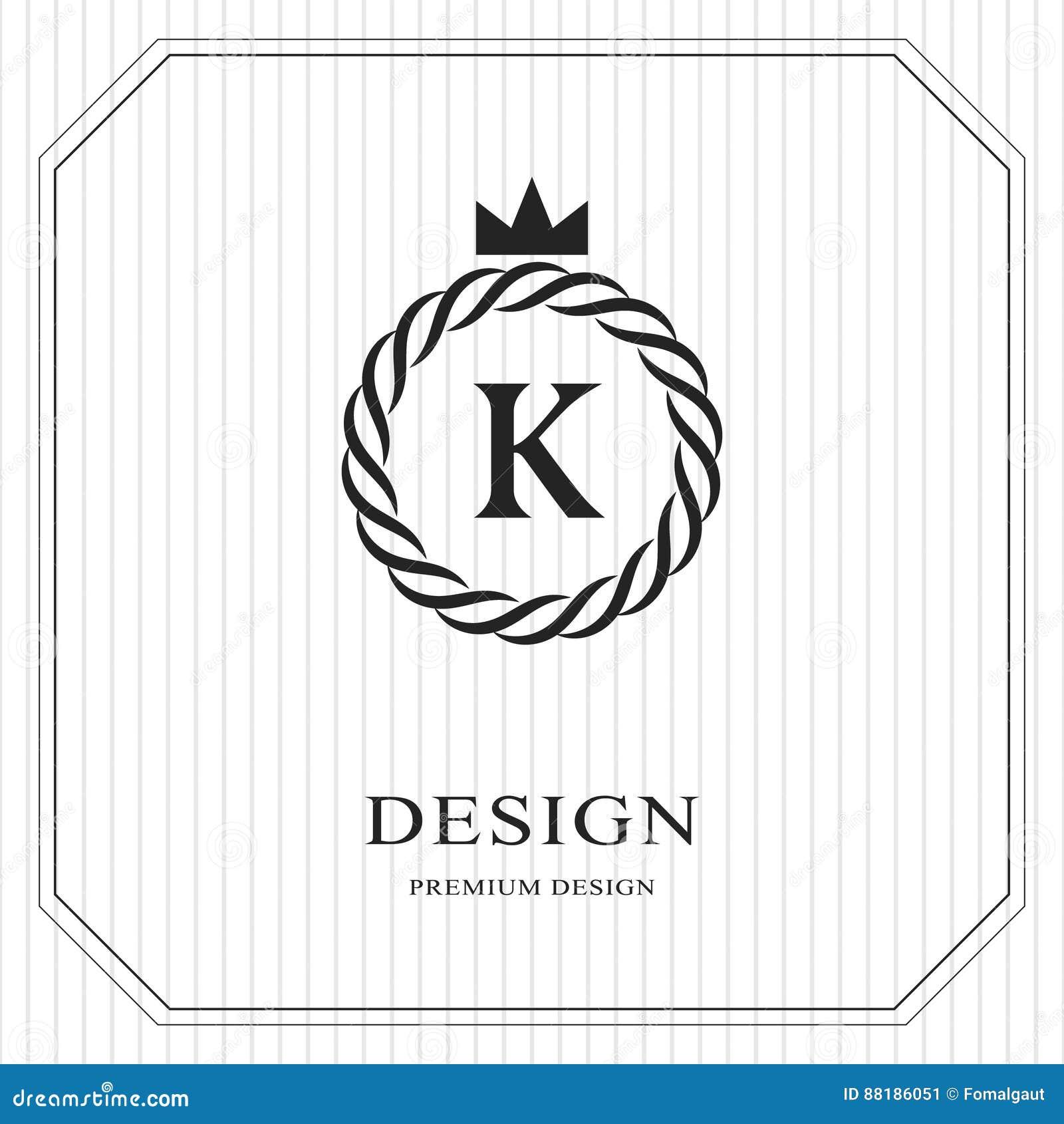 Modello rotondo del monogramma astratto Reticolo senza giunte lineare Progettazione di lusso elegante moderna di logo Emblema K,