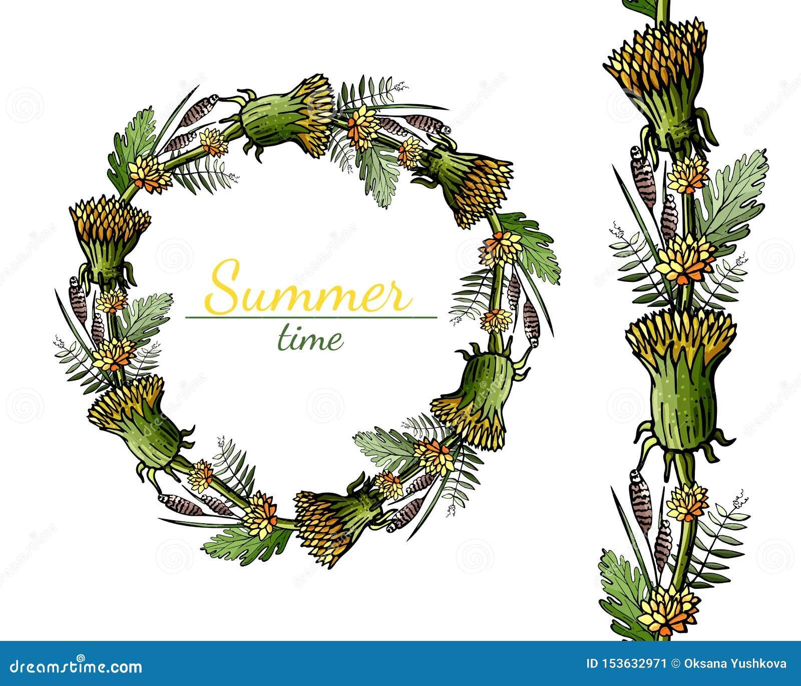 Modello rotondo e senza cuciture dei fiori di estate su un fondo bianco