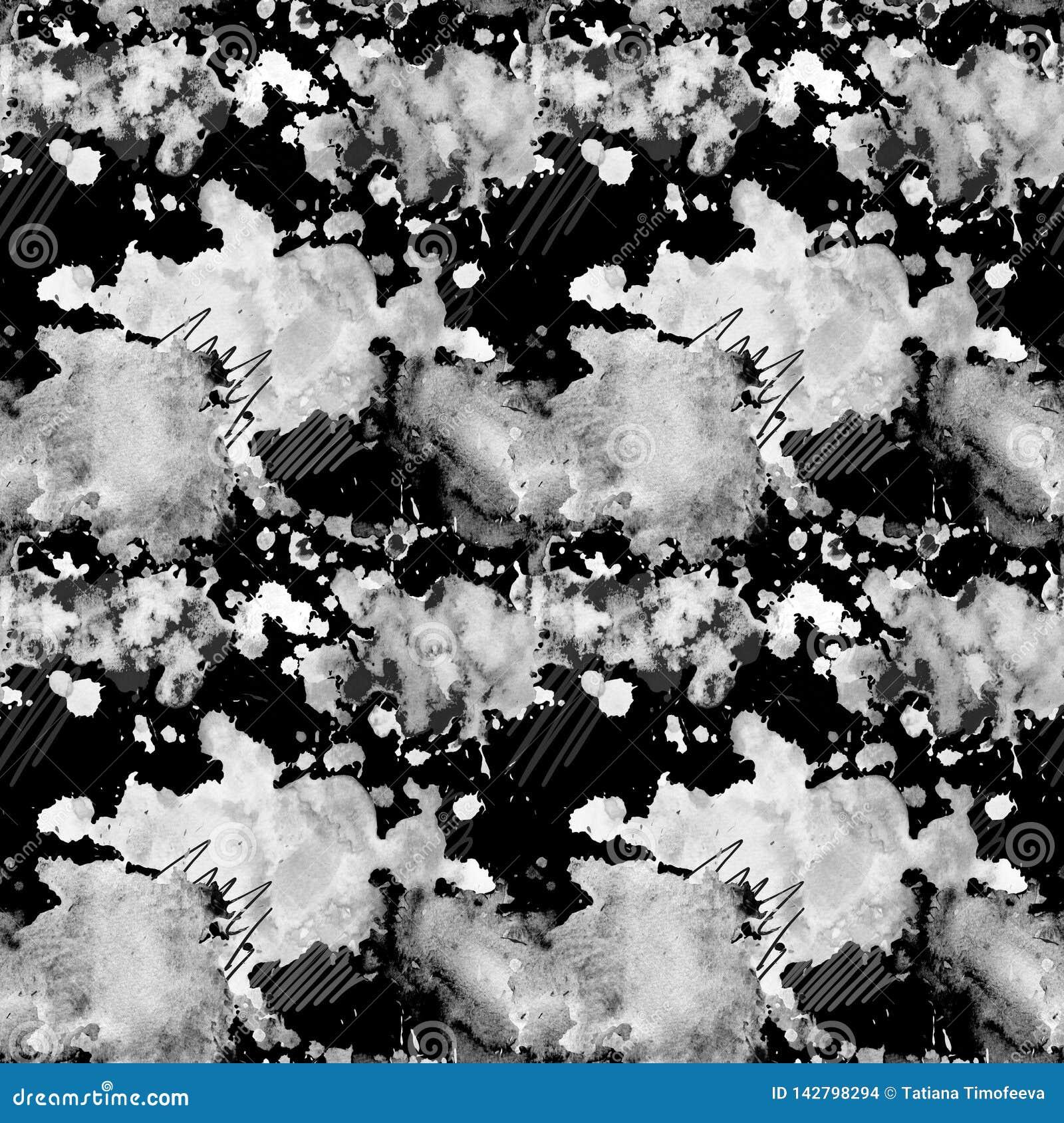 Modello senza cuciture in bianco e nero con le macchie dell acquerello su un fondo scuro