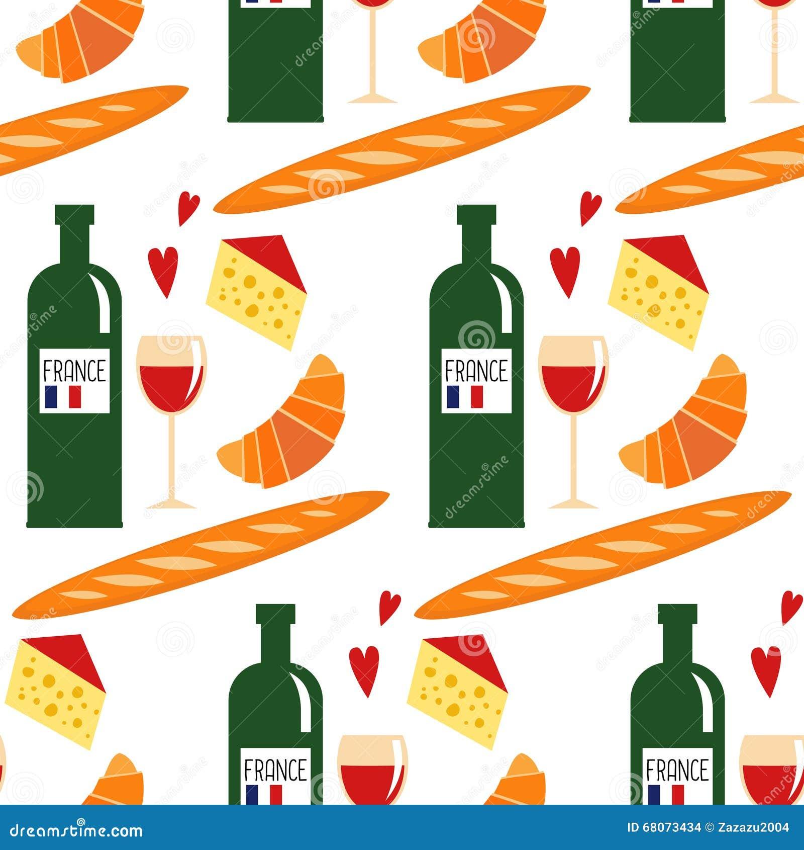 Modello senza cuciture con alimento francese tradizionale for Modello di paese francese