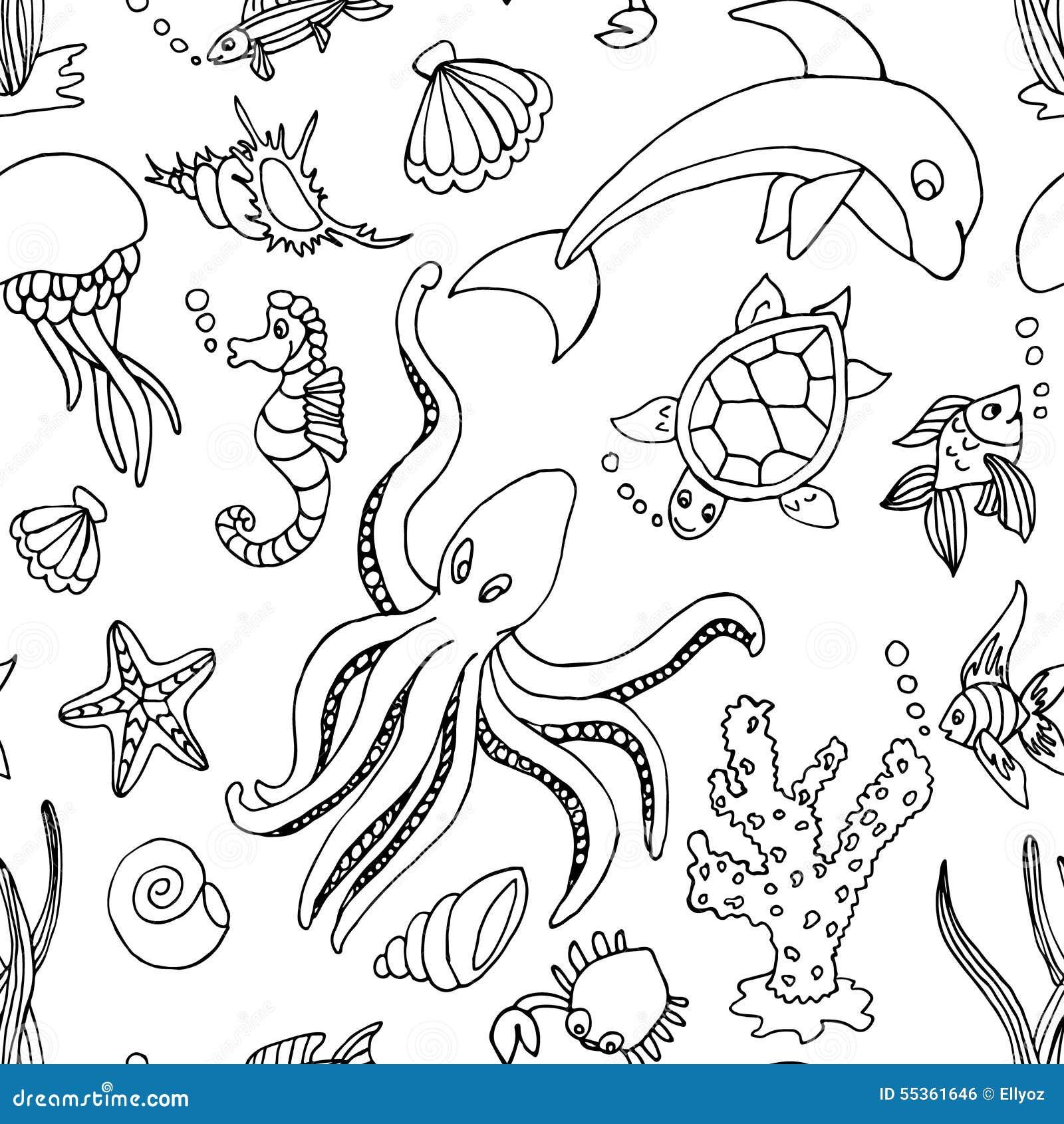 Modello senza cuciture con differenti creature del mare