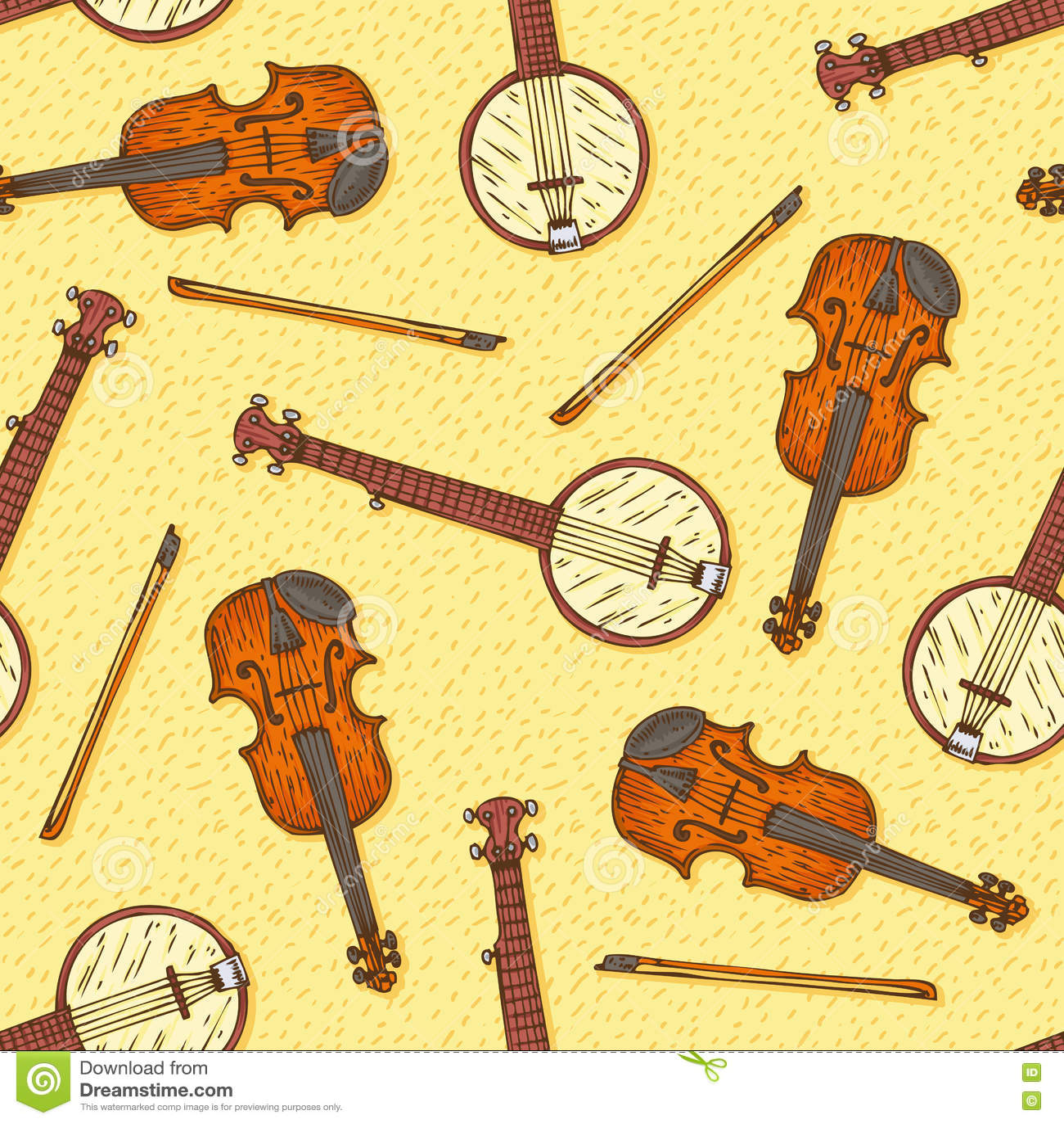 Modello senza cuciture con fiddle ed il banjo di legno