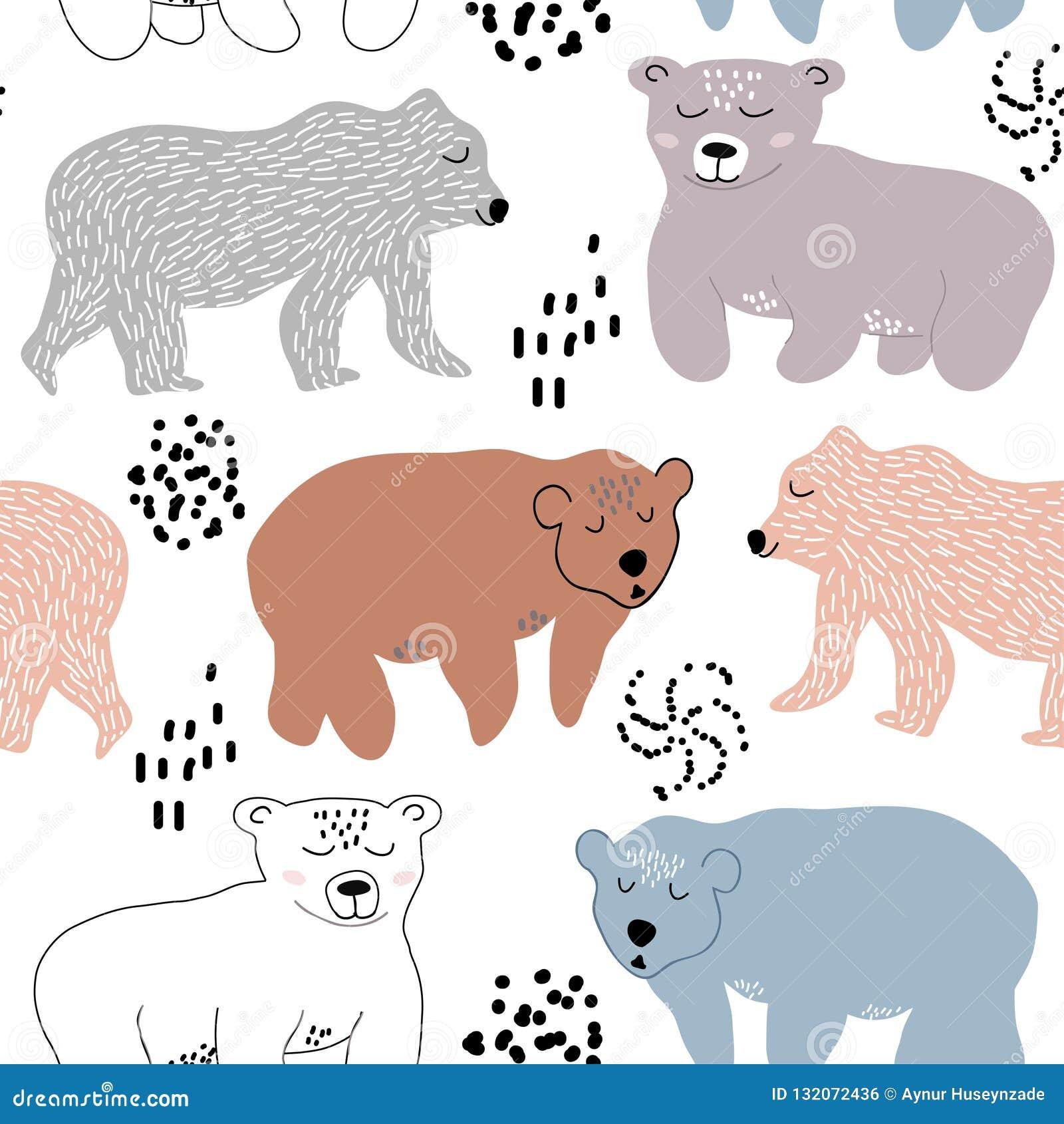 Modello senza cuciture con gli orsi svegli illustrazione di vettore per tessuto, tessuto, decorazione della scuola materna