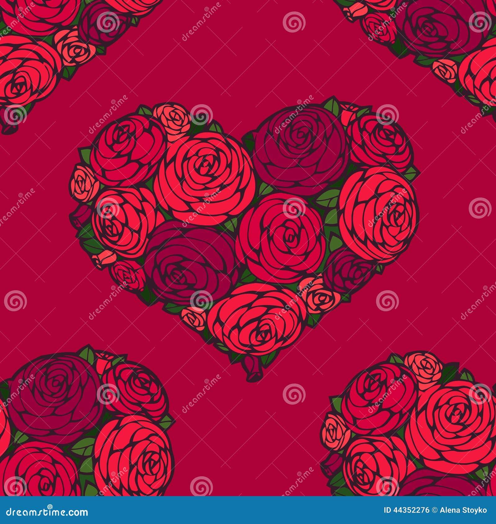 Modello senza cuciture con i cuori fatti della rosa rossa