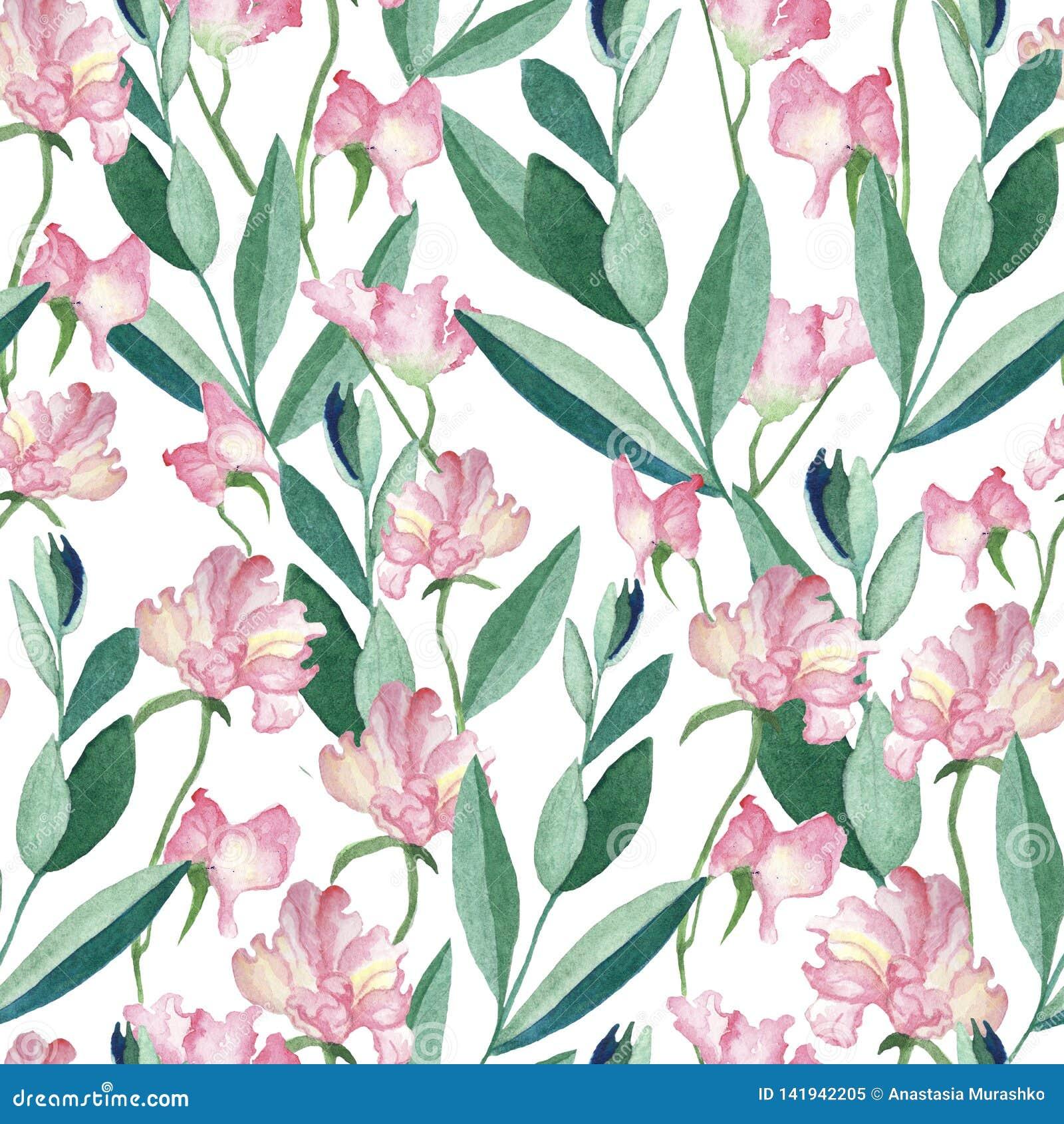 Modello senza cuciture con i fiori e le foglie dell acquerello