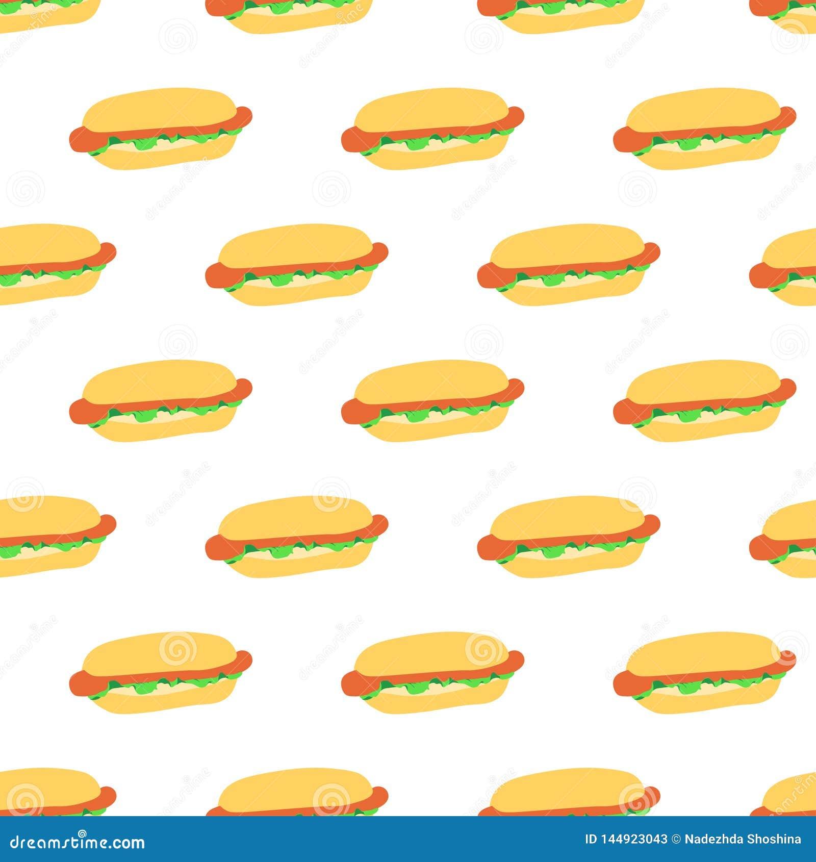 Modello senza cuciture con i hot dog
